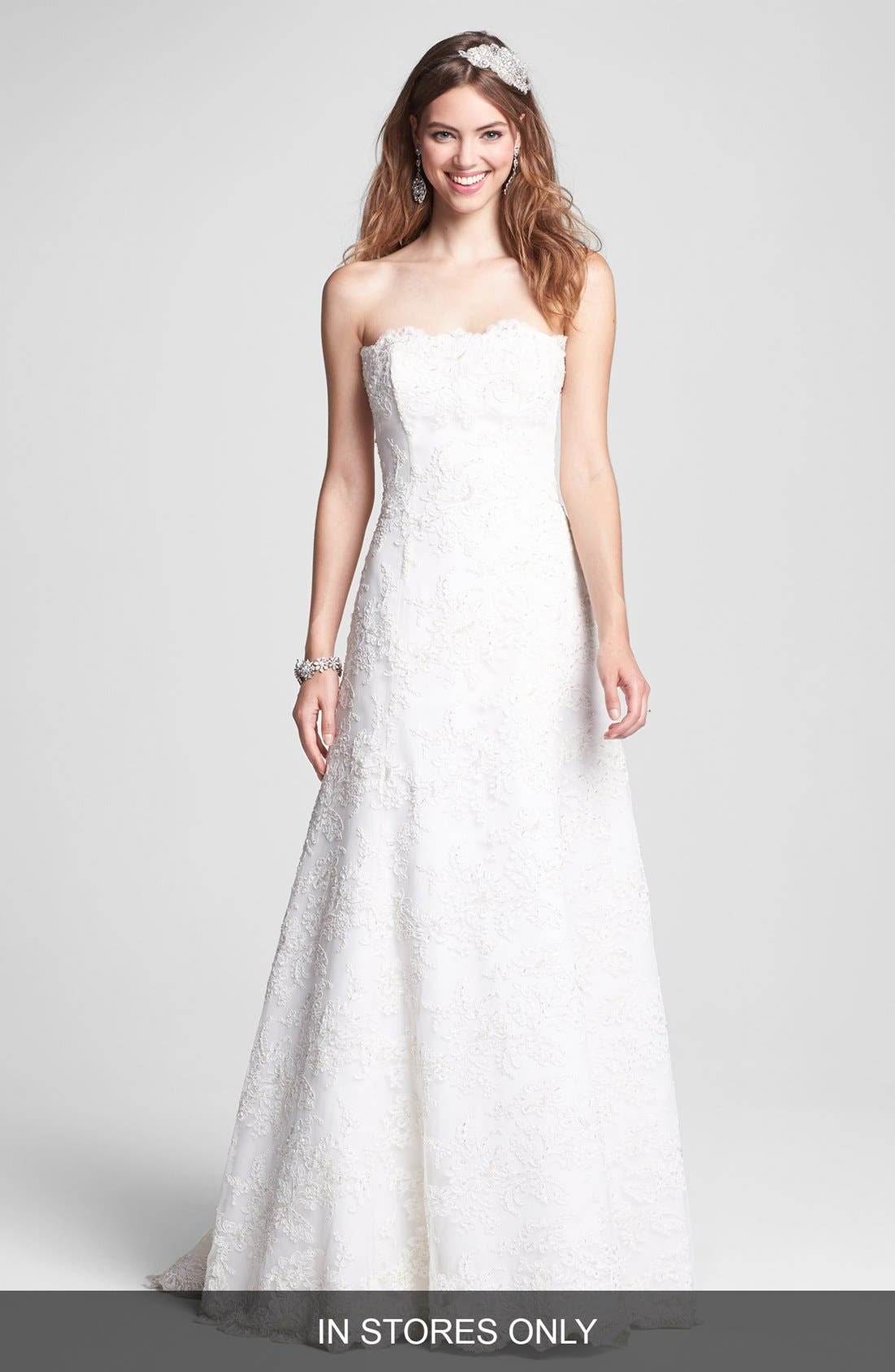 Alternate Image 1 Selected - BLISS Monique Lhuillier Strapless Beaded Lace Wedding Dress (In Stores Only)