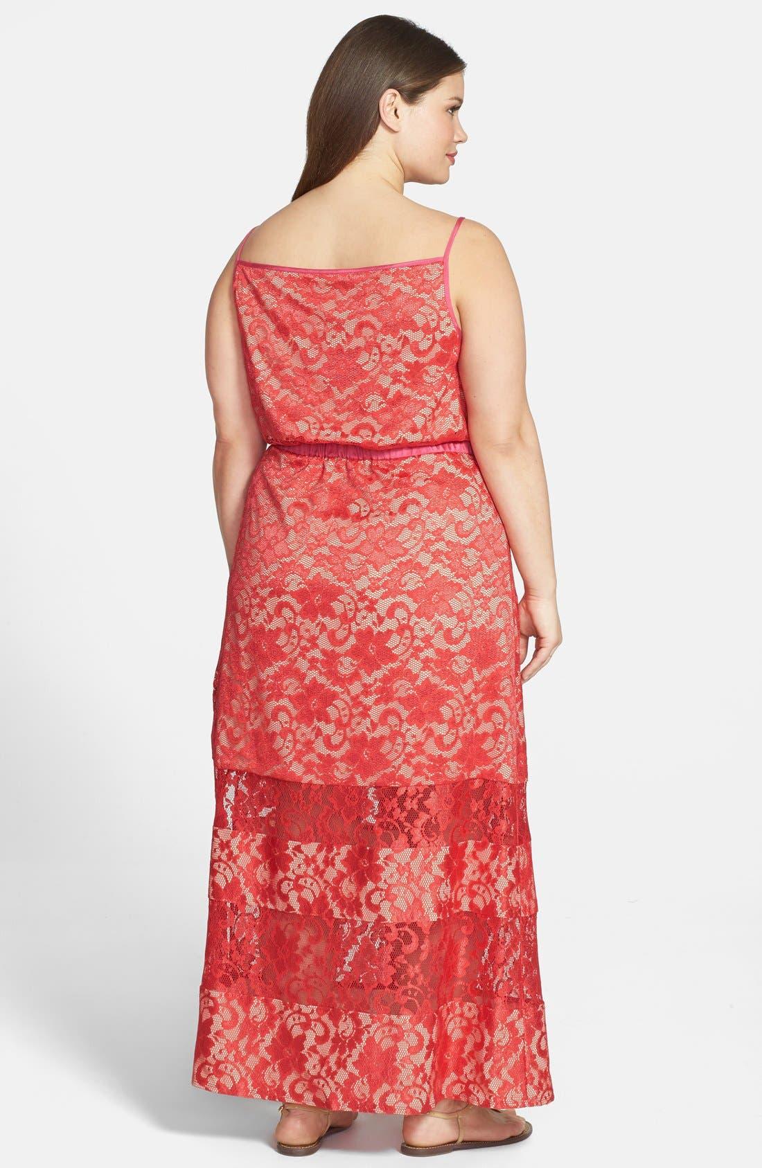 Alternate Image 2  - ABS by Allen Schwartz Lace Maxi Dress (Plus Size)