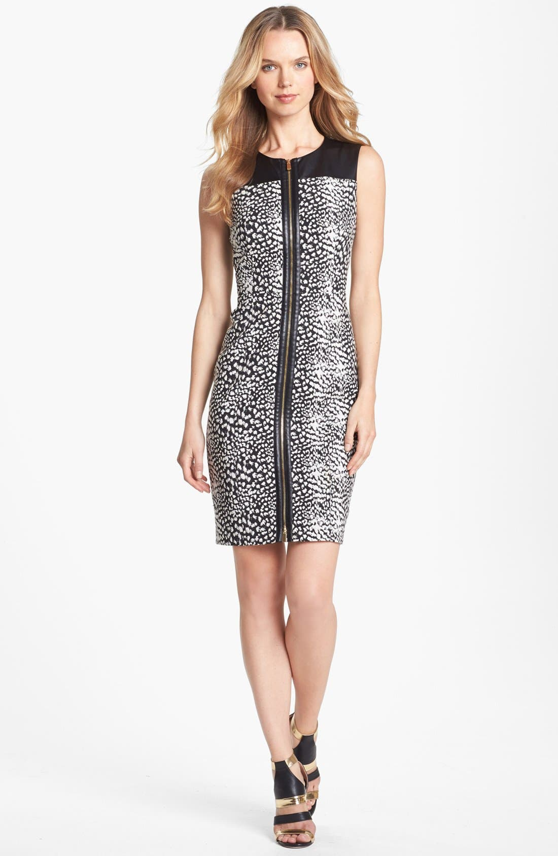 Alternate Image 1 Selected - Vince Camuto Faux Leather Detail Print Zip Front Dress (Petite)