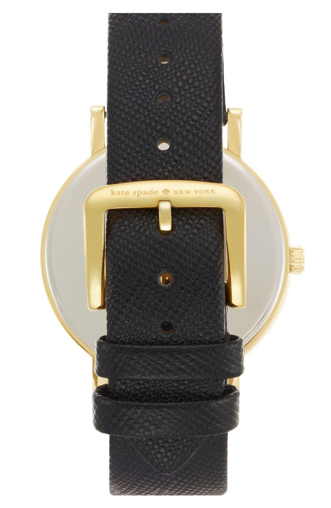 Alternate Image 2  - kate spade new york 'metro grand' crystal bezel leather strap watch, 38mm