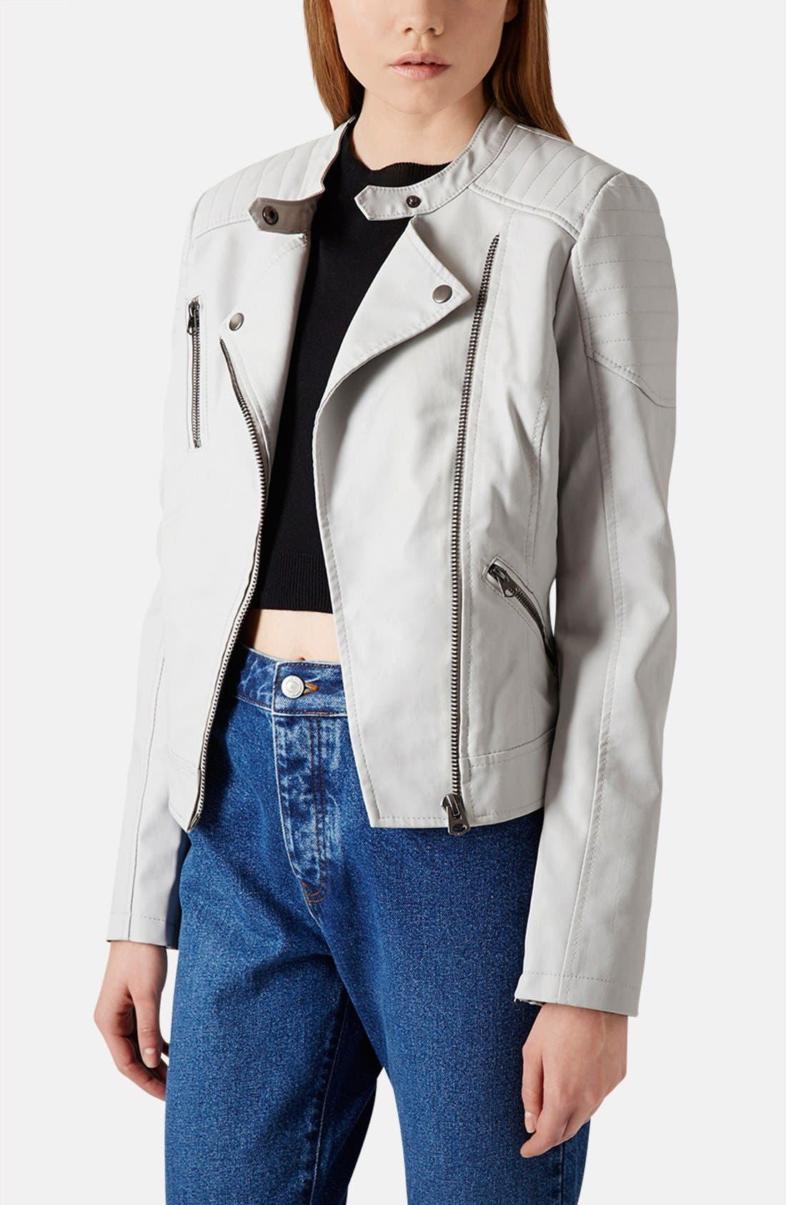 Alternate Image 1 Selected - Topshop Faux Leather Biker Jacket