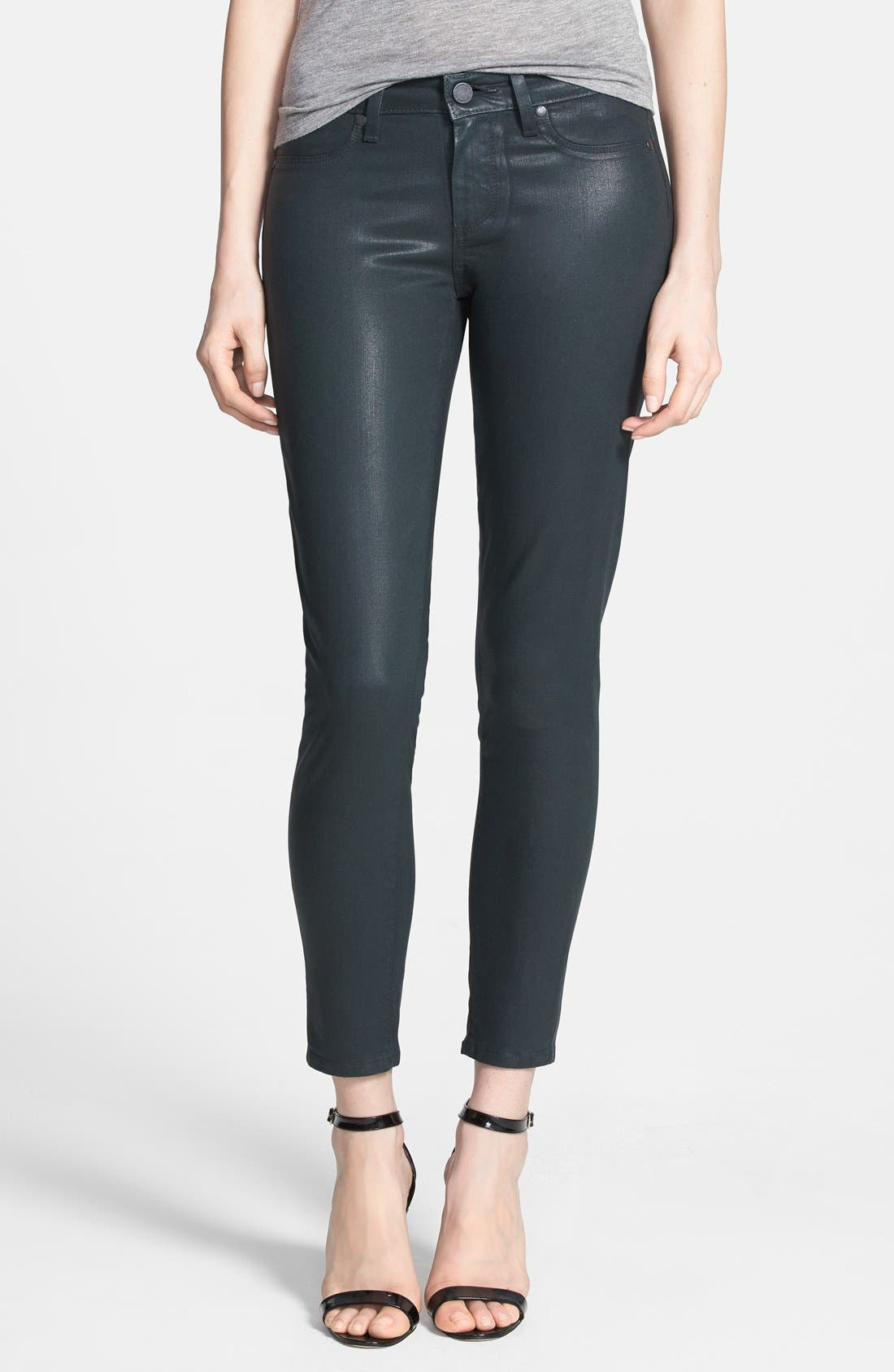 Alternate Image 1 Selected - Paige Denim 'Verdugo' Coated Skinny Ankle Jeans (Evergreen Silk)