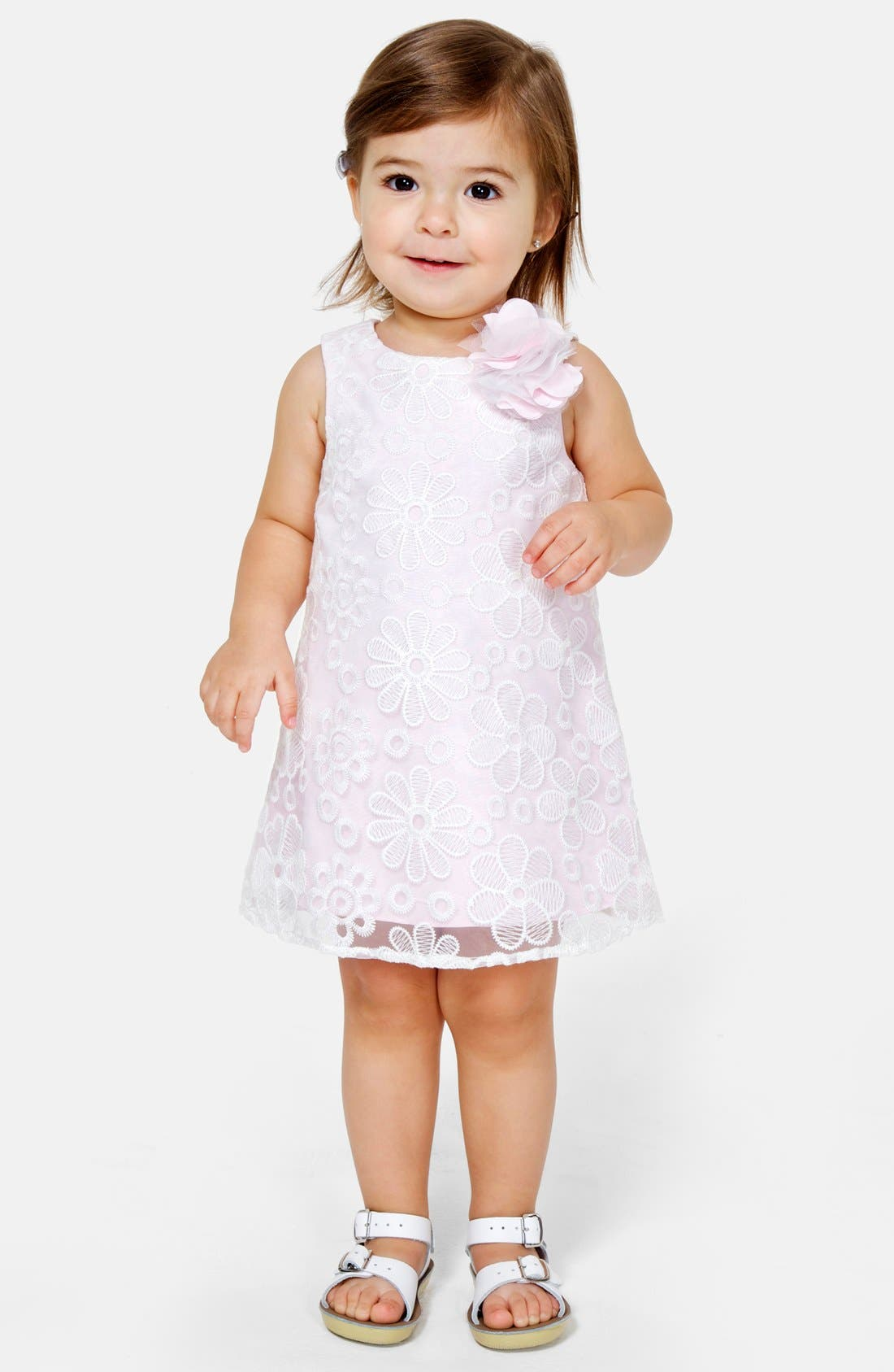Main Image - Pippa & Julie Floral Lace Shift Dress (Baby Girls)