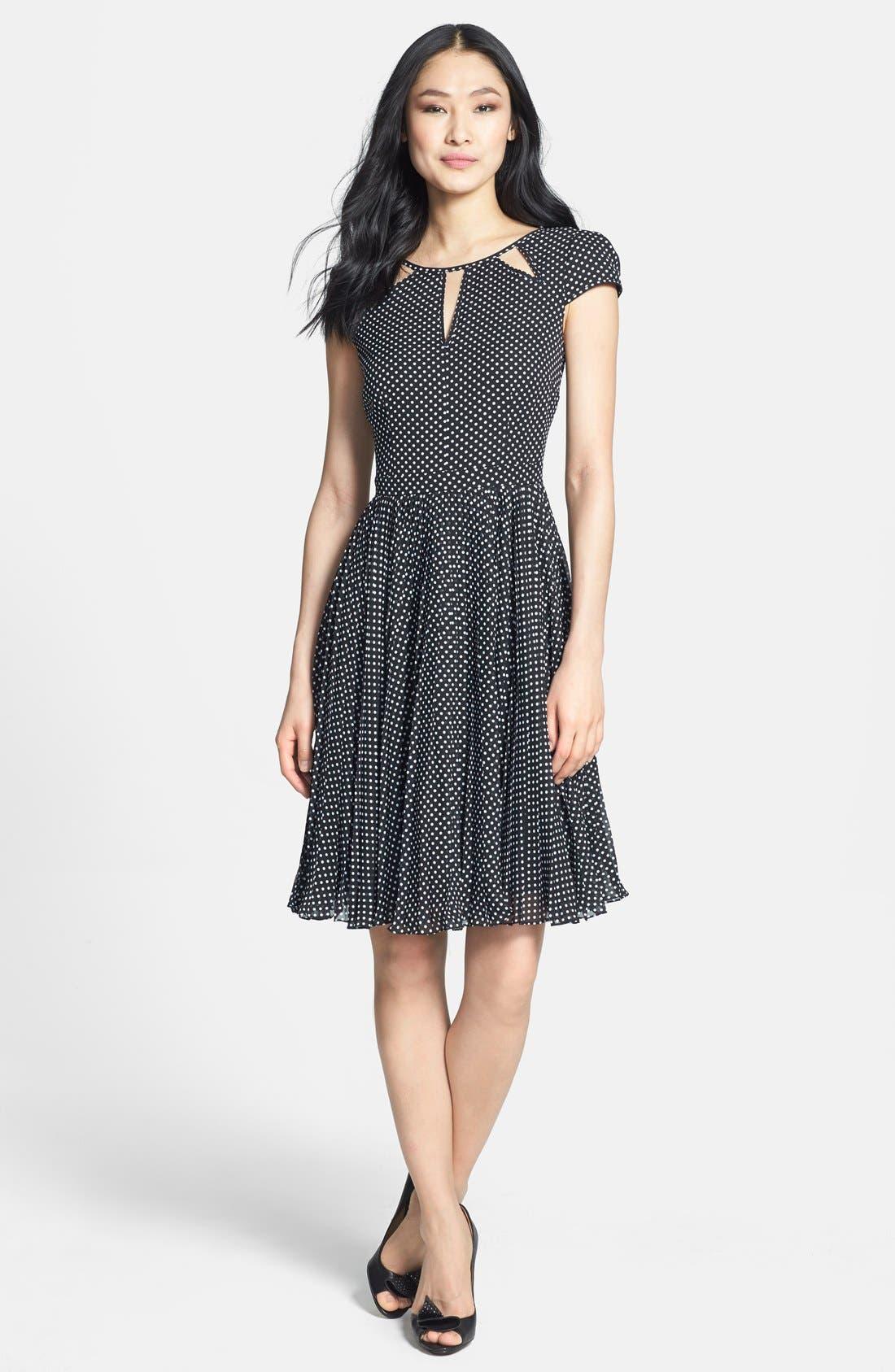 Alternate Image 3  - Adrianna Papell Polka Dot Cutout Fit & Flare Dress (Regular & Petite)