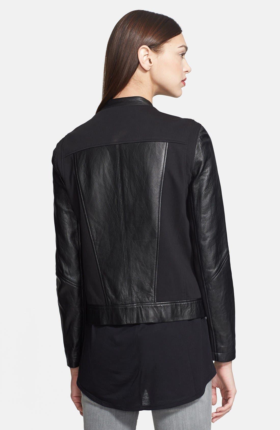 Alternate Image 2  - Helmut Lang Stretch Knit & Leather Jacket