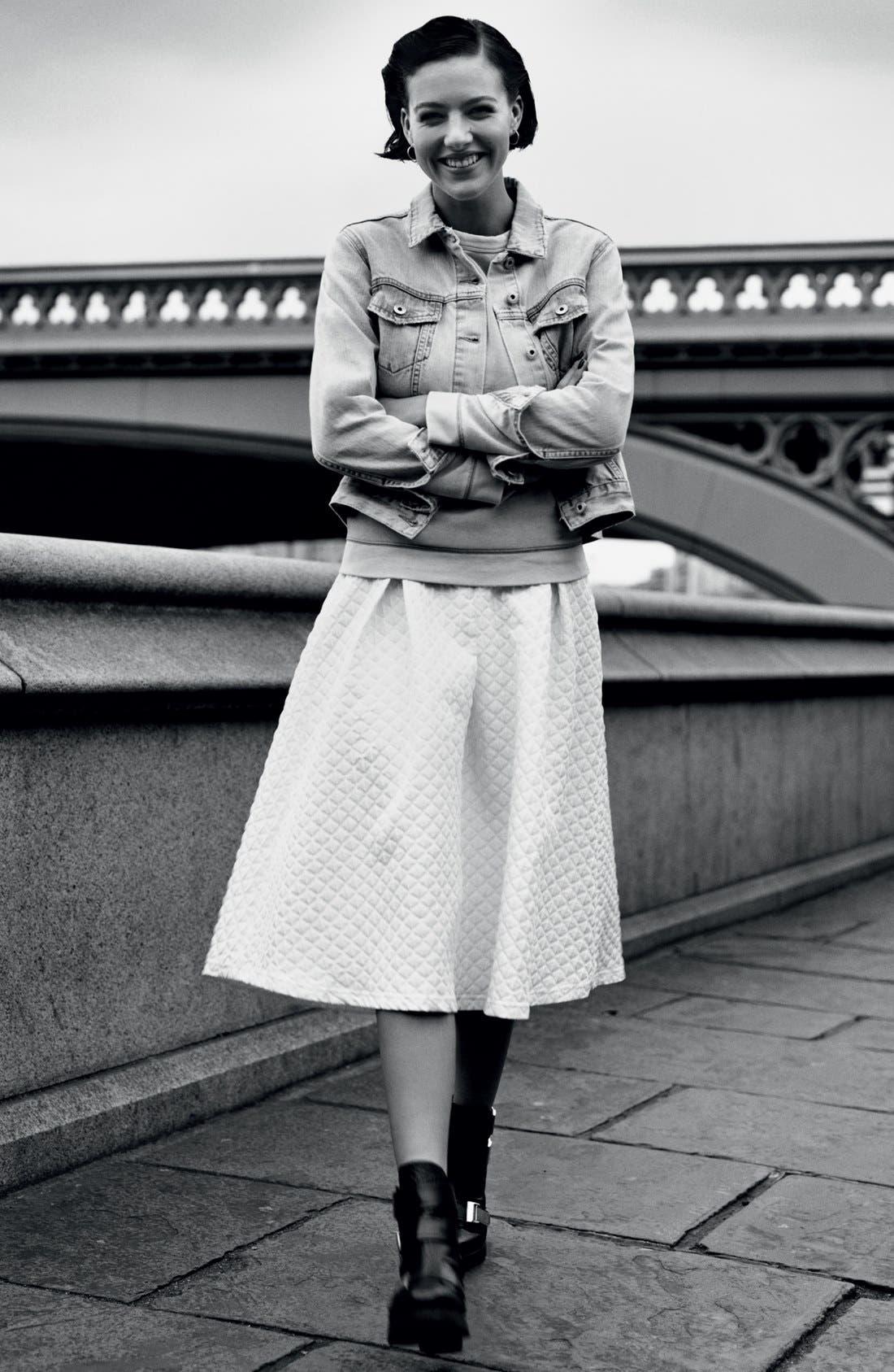 Alternate Image 6  - Topshop Diamond Jacquard Midi Skirt