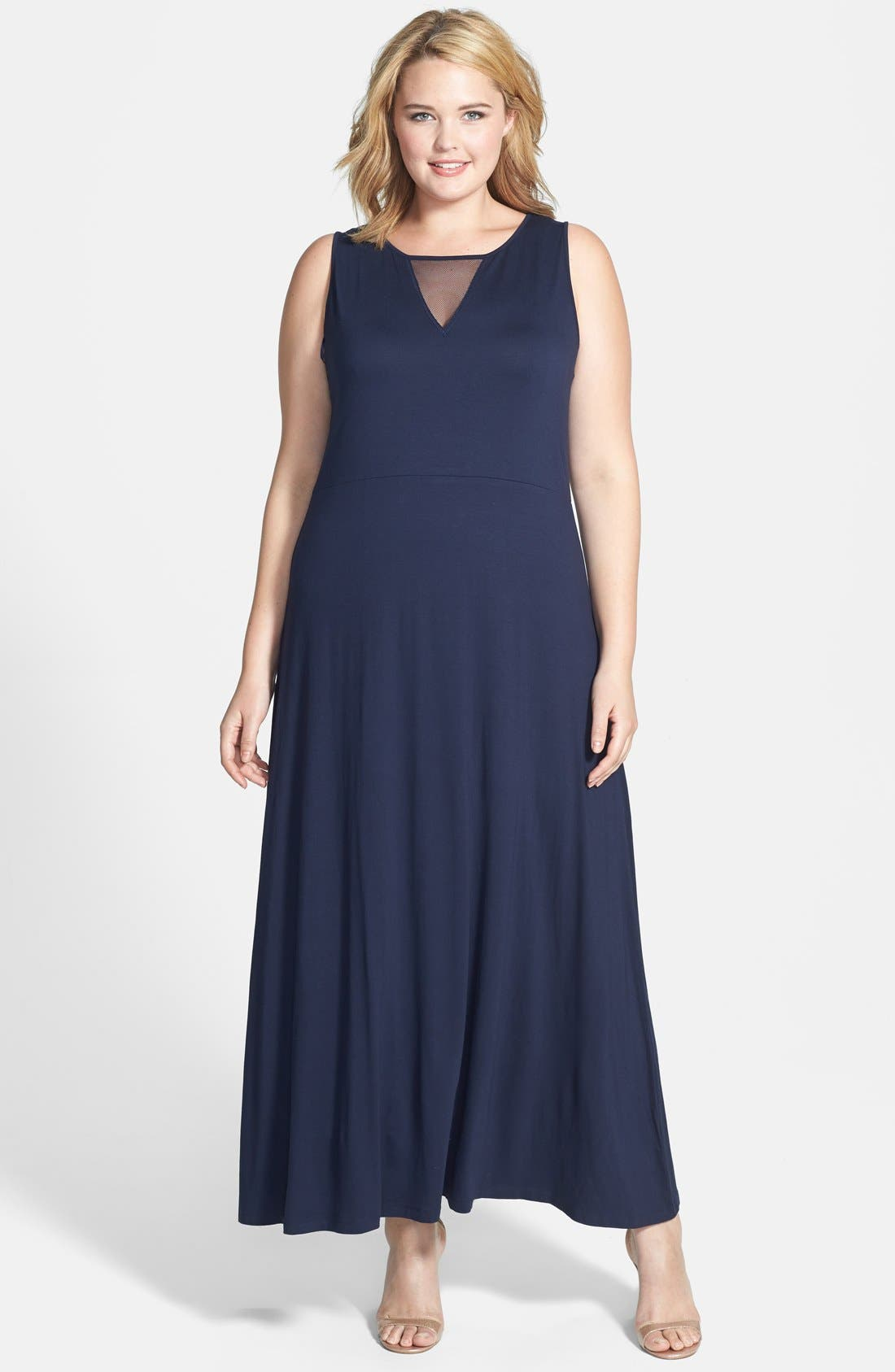 Alternate Image 1 Selected - Vince Camuto Mesh Inset Maxi Dress (Plus Size)