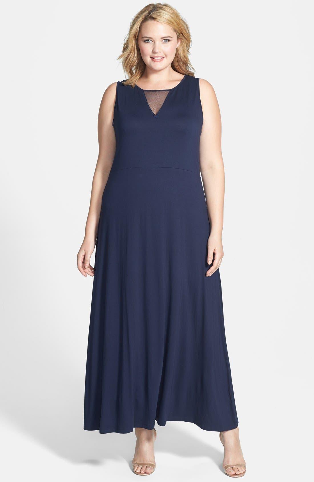 Main Image - Vince Camuto Mesh Inset Maxi Dress (Plus Size)