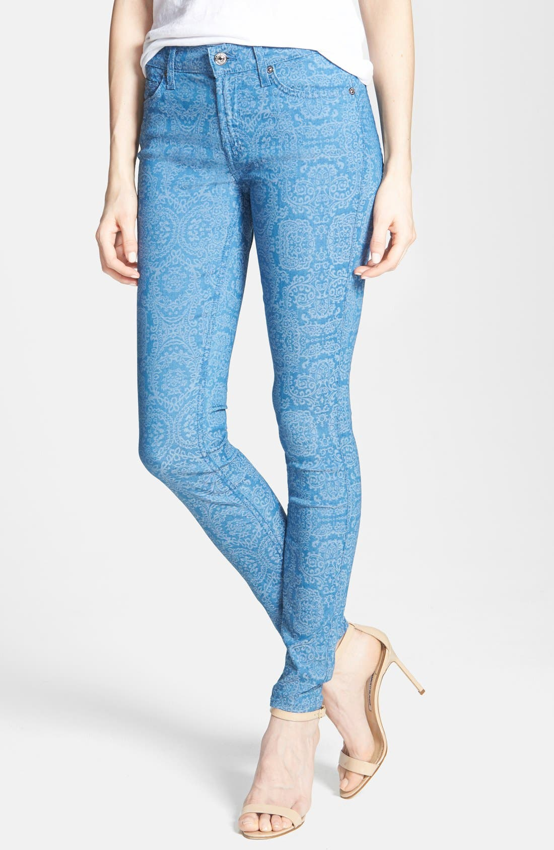 Main Image - 7 For All Mankind® 'The Skinny' Print Jeans (Moroccan Blue)