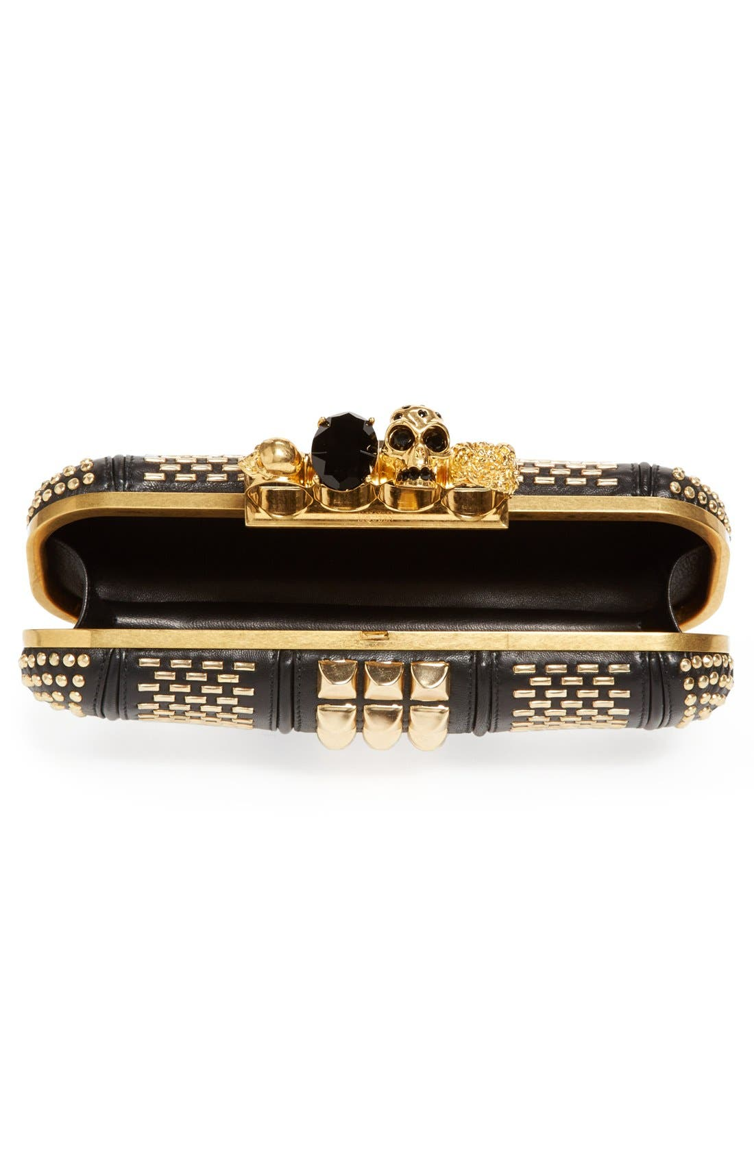Alternate Image 3  - Alexander McQueen Knuckle Clasp Graphic Studded Box Clutch