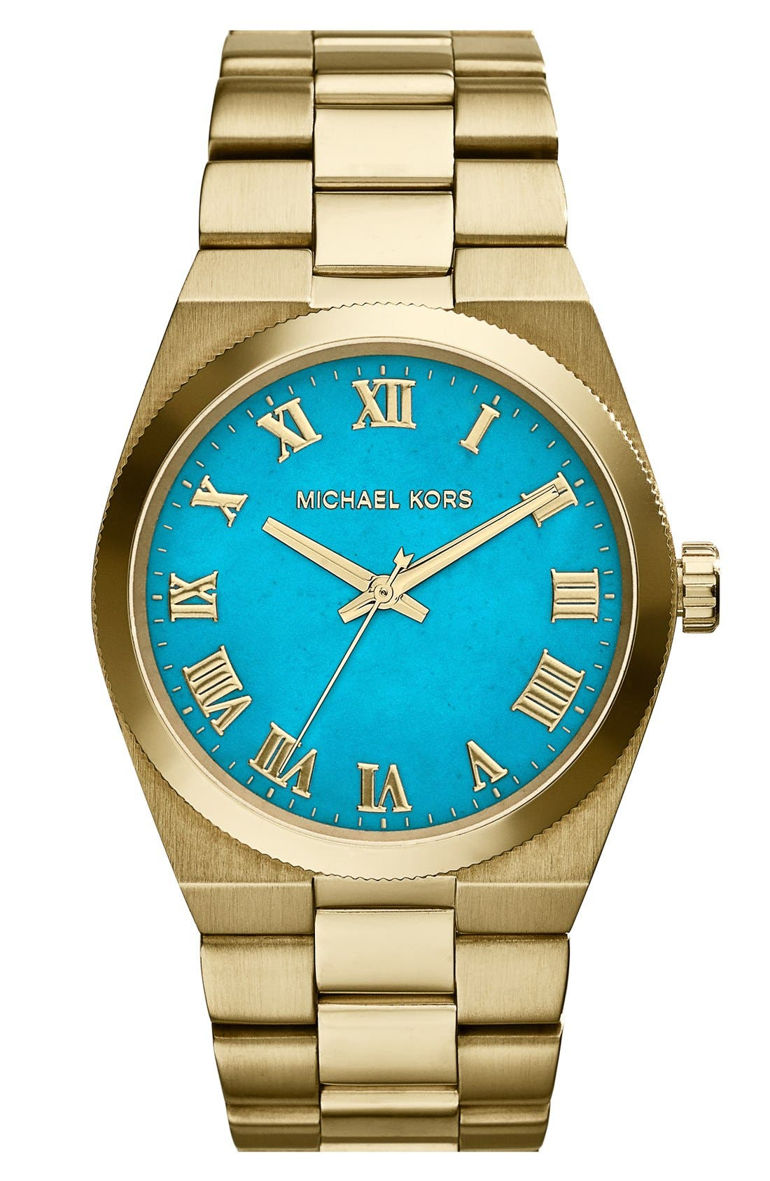 Main Image - Michael Kors 'Channing' Turquoise Dial Bracelet Watch, 38mm