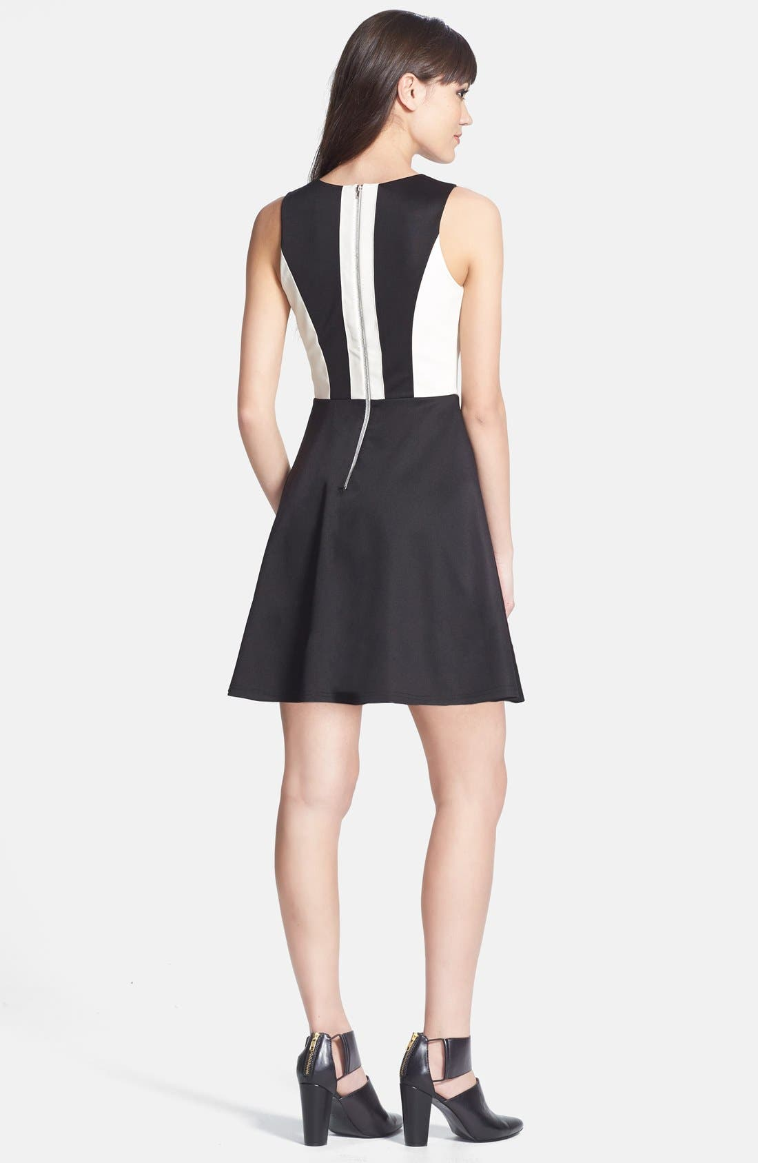 Alternate Image 2  - MM Couture Cutout Faux Leather Contrast Ponte Knit Fit & Flare Dress
