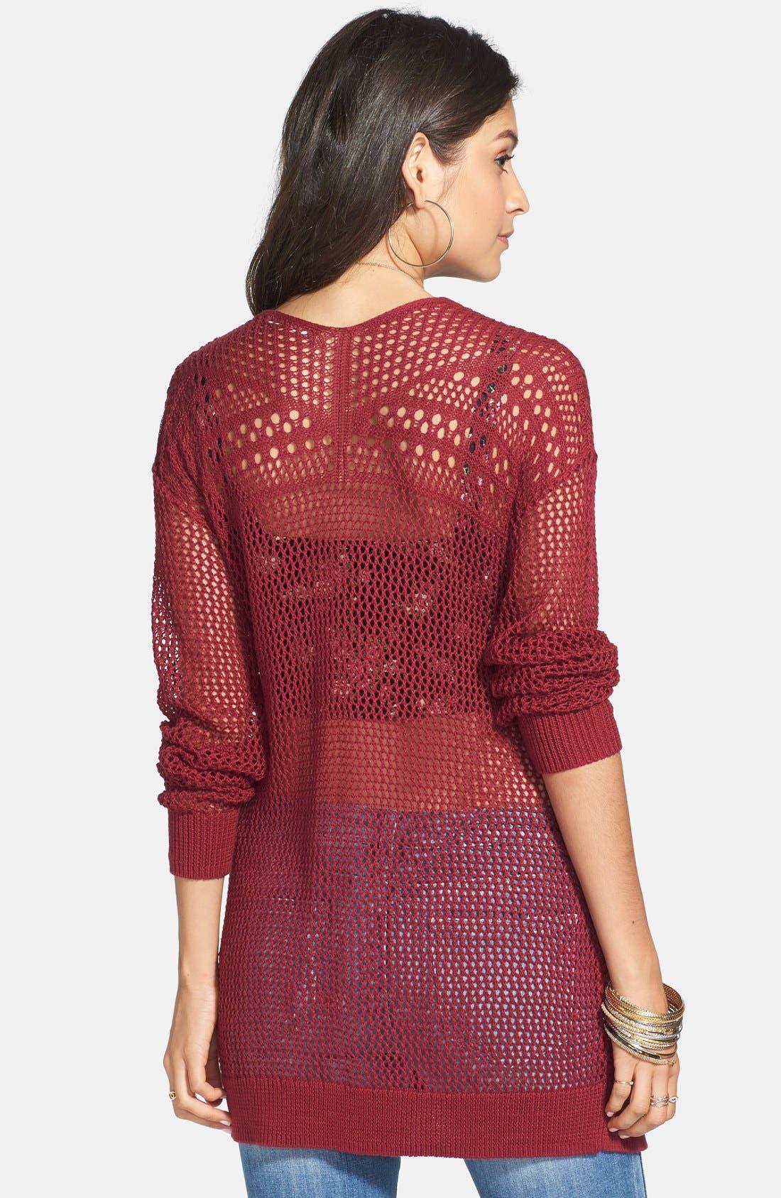 Alternate Image 2  - Rubbish® Open Front Crocheted Cardigan (Juniors)