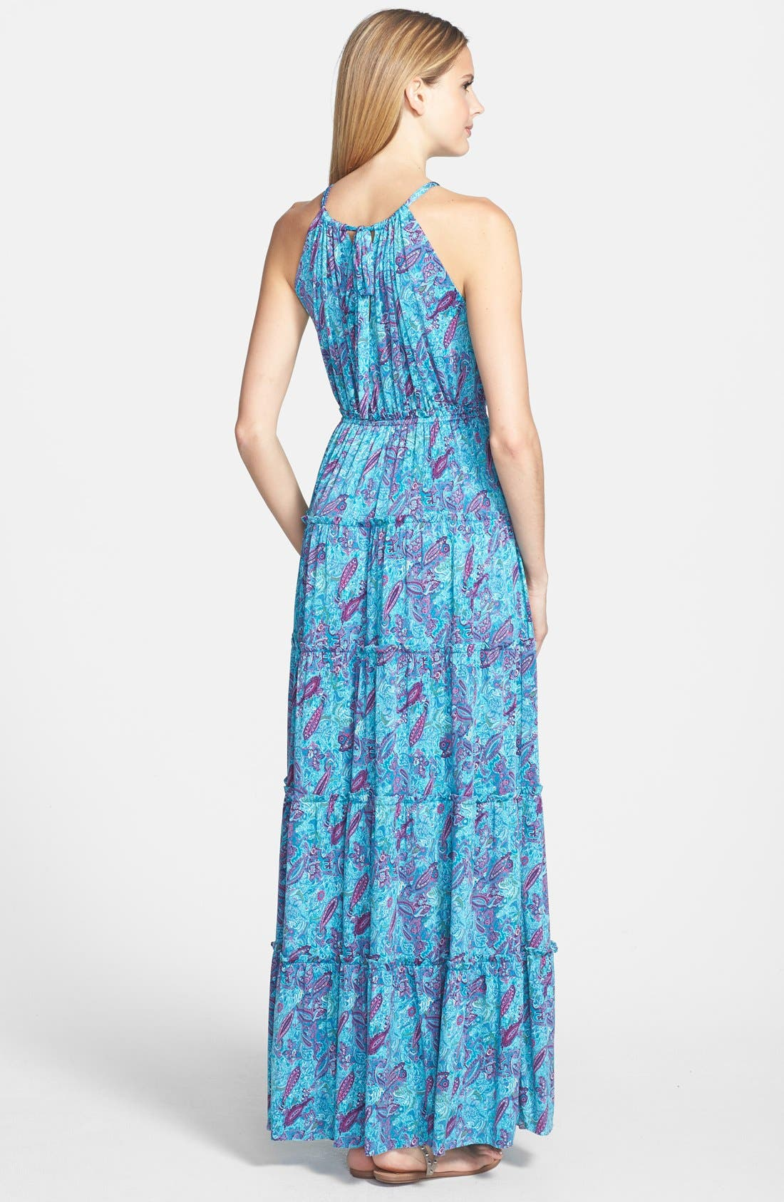 Alternate Image 2  - Tbags Los Angeles Print Tiered Maxi Dress