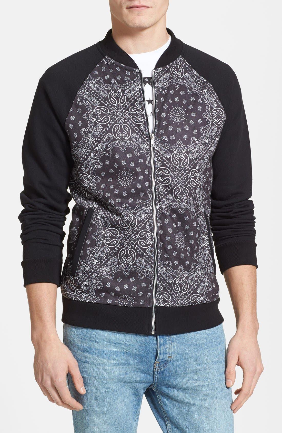 Main Image - Topman Bandana Print Jersey Zip Sweatshirt