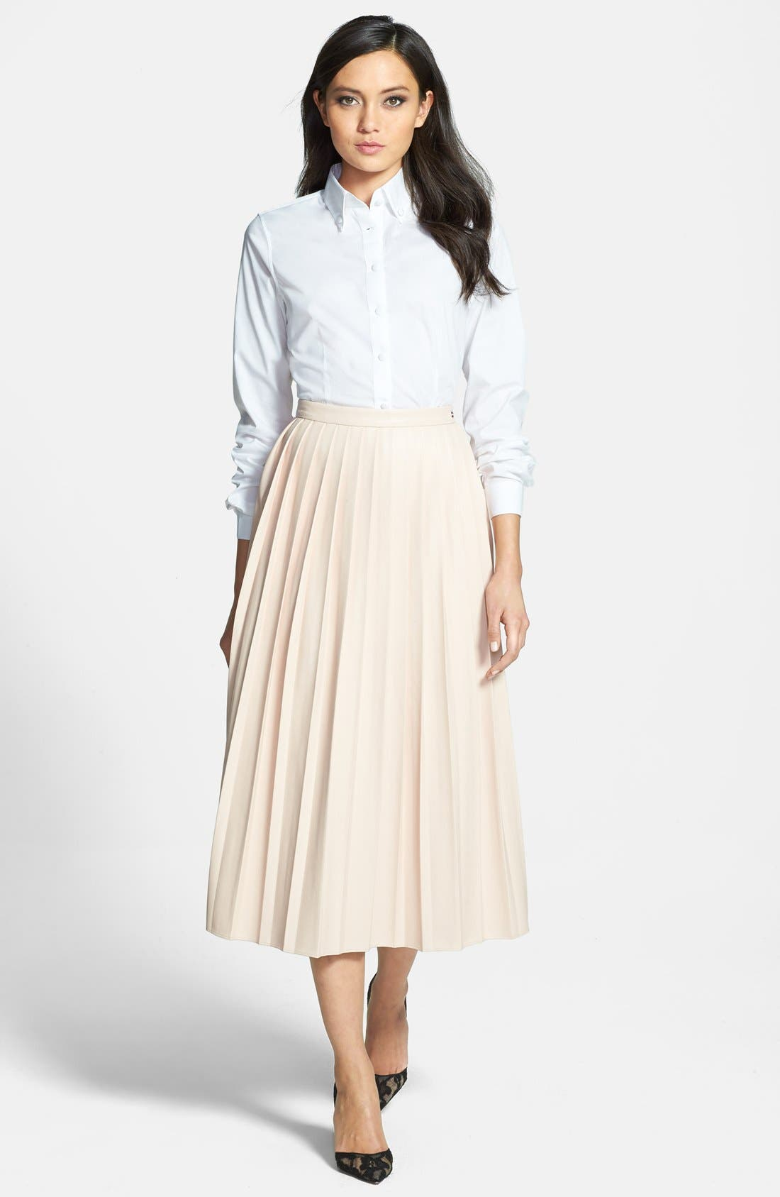 Alternate Image 4  - Pink Tartan Faux Leather Pleat Skirt