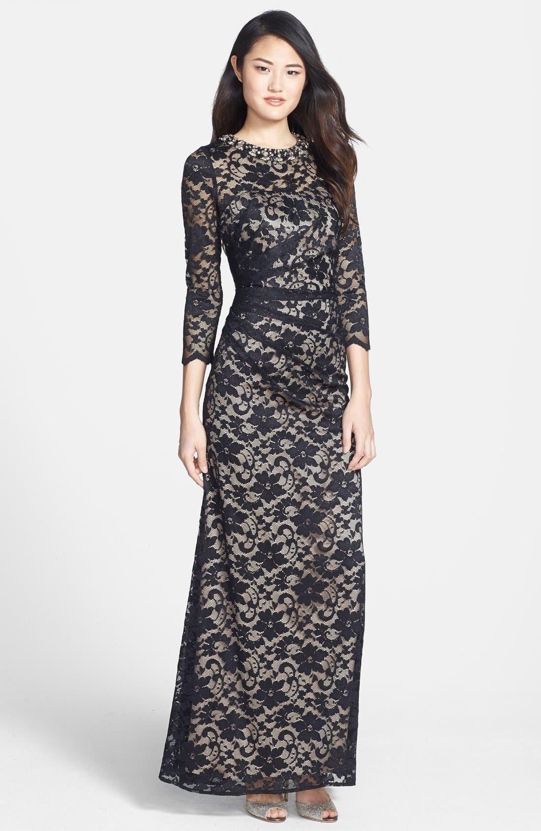 Alternate Image 1 Selected - Eliza J Embellished Lace Gown