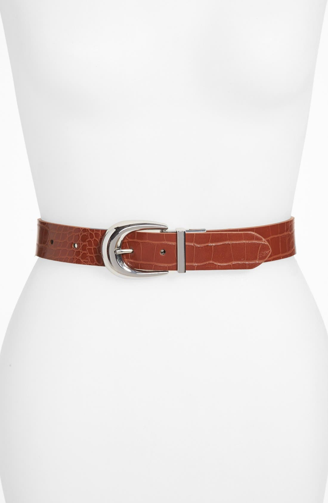 Main Image - Lauren Ralph Lauren Reversible Croc Embossed Belt