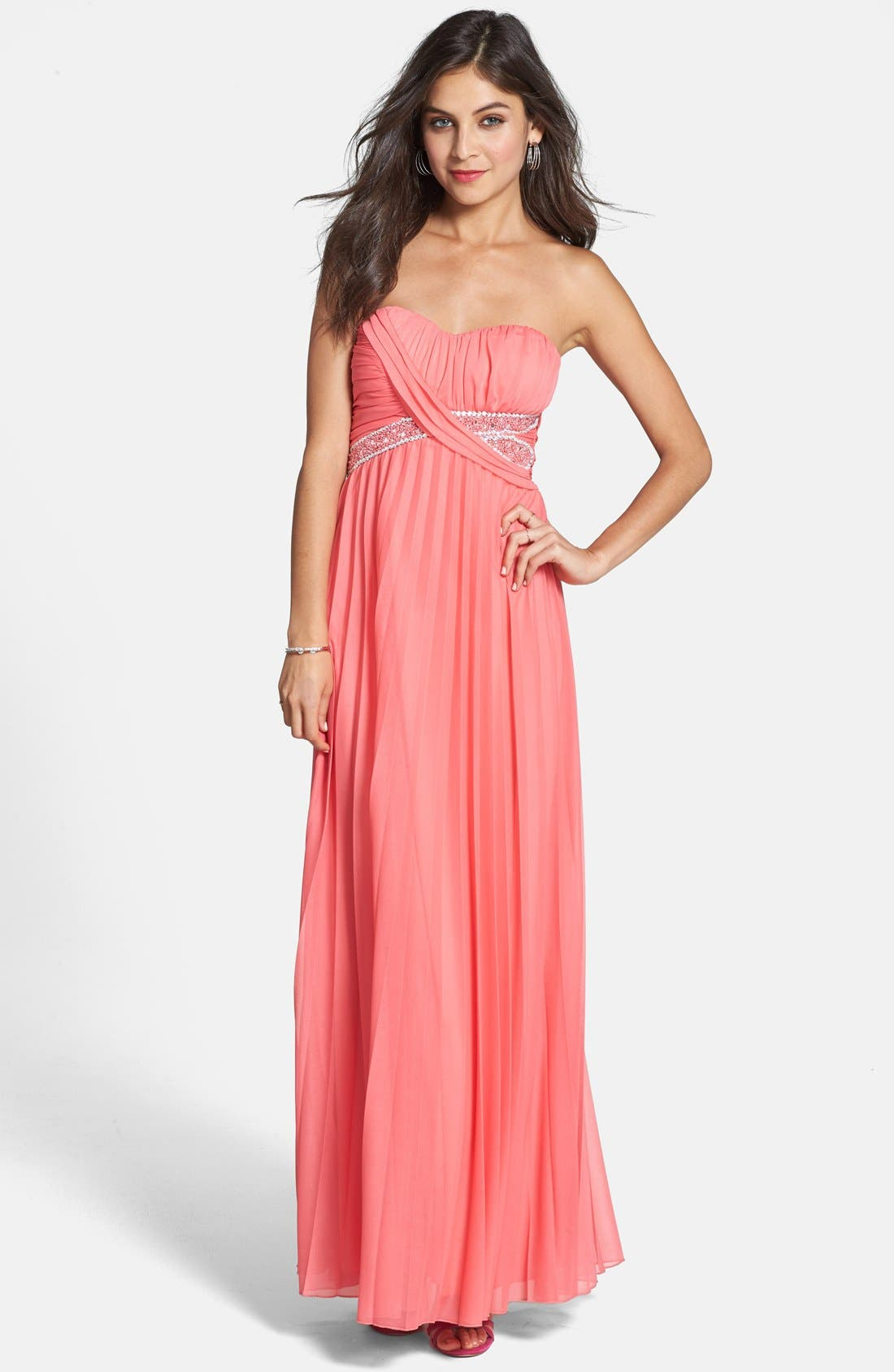 Main Image - Way-In Embellished Pleat Strapless Gown (Juniors)