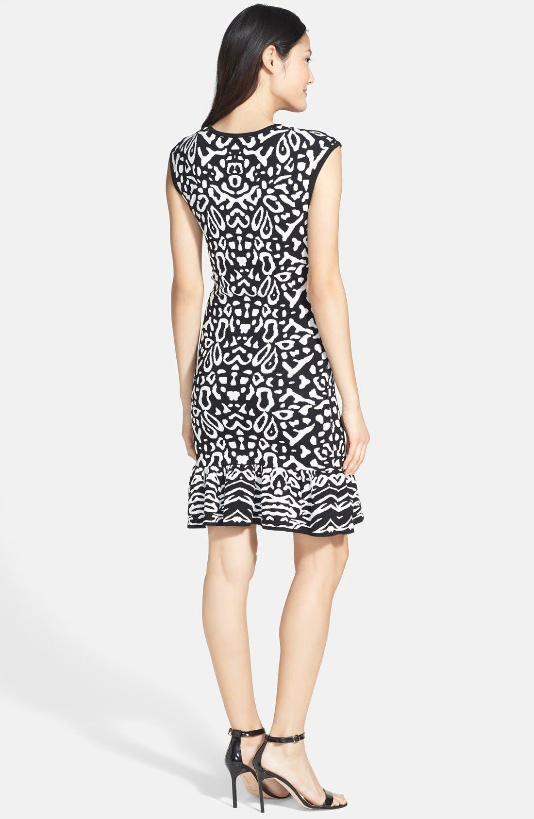 Alternate Image 2  - Felicity & Coco Flounce Hem Jacquard Body-Con Sweater Dress (Regular & Petite) (Nordstrom Exclusive)