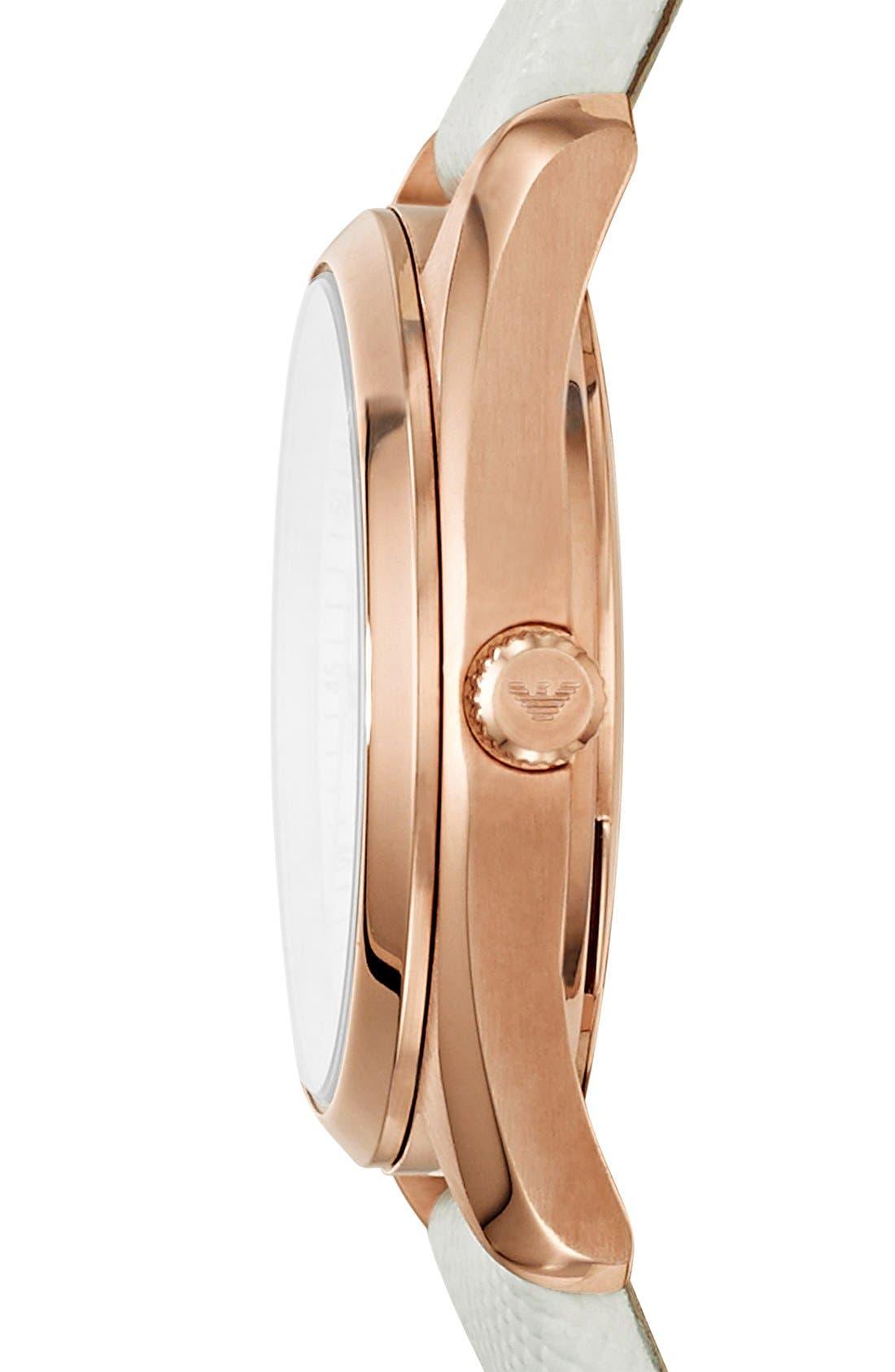 Alternate Image 3  - Emporio Armani Round Saffiano Leather Strap Watch, 26mm