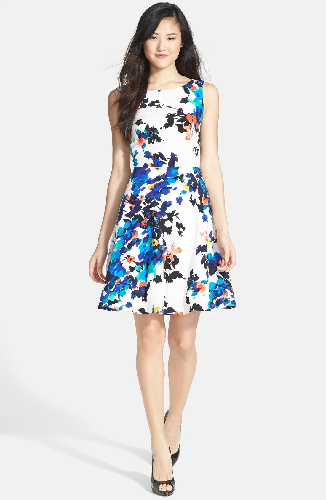 Alternate Image 1 Selected - Betsey Johnson Floral Print Fit & Flare Dress