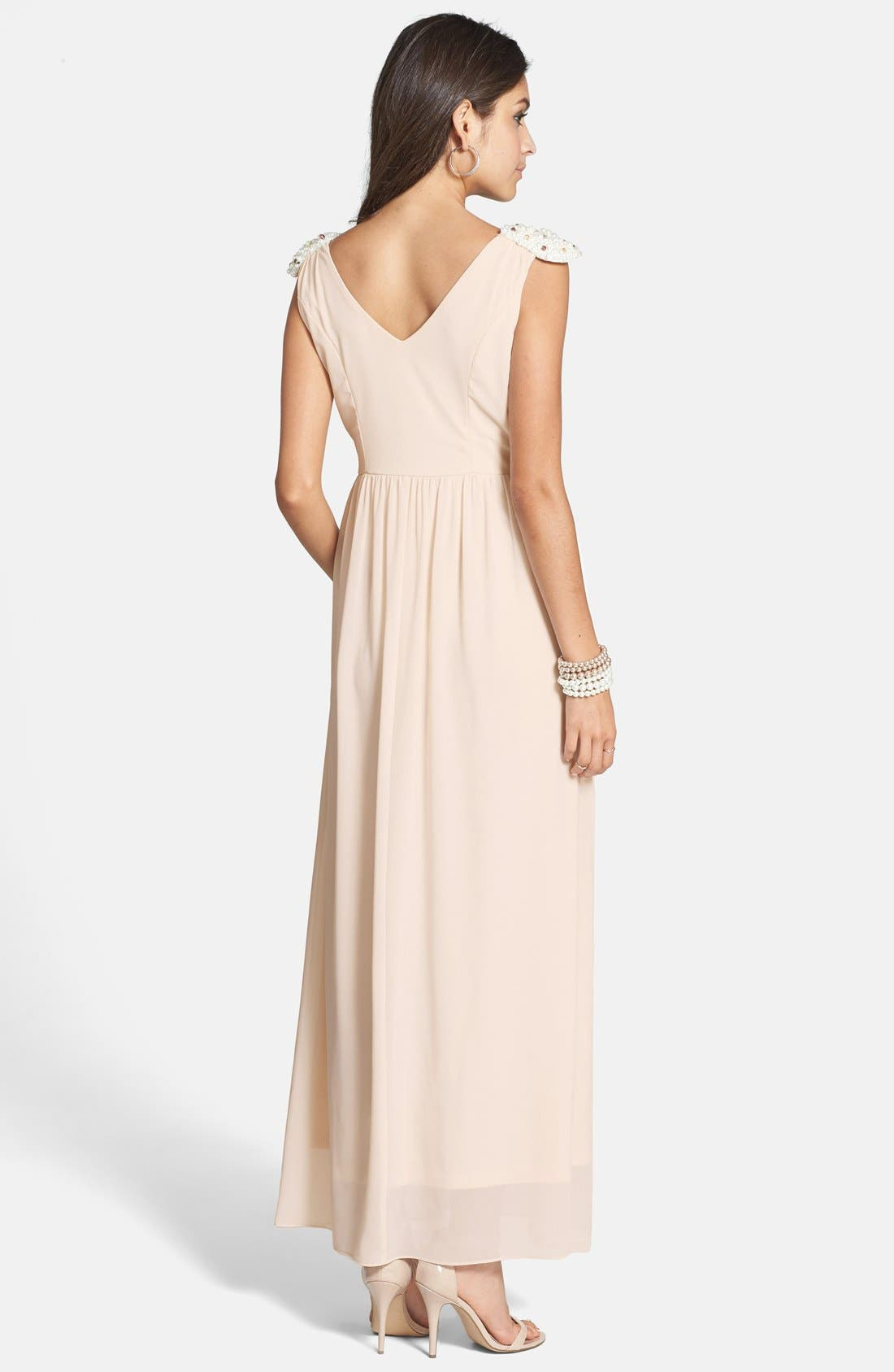 Alternate Image 2  - a. drea 'Daisy' Beaded Shoulder V-Neck Gown (Juniors)
