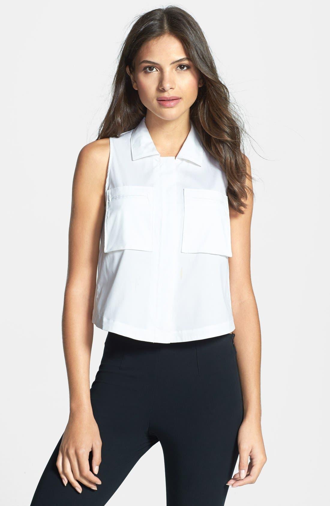 Main Image - Theory 'Gemia' Crop Cotton Blend Shirt