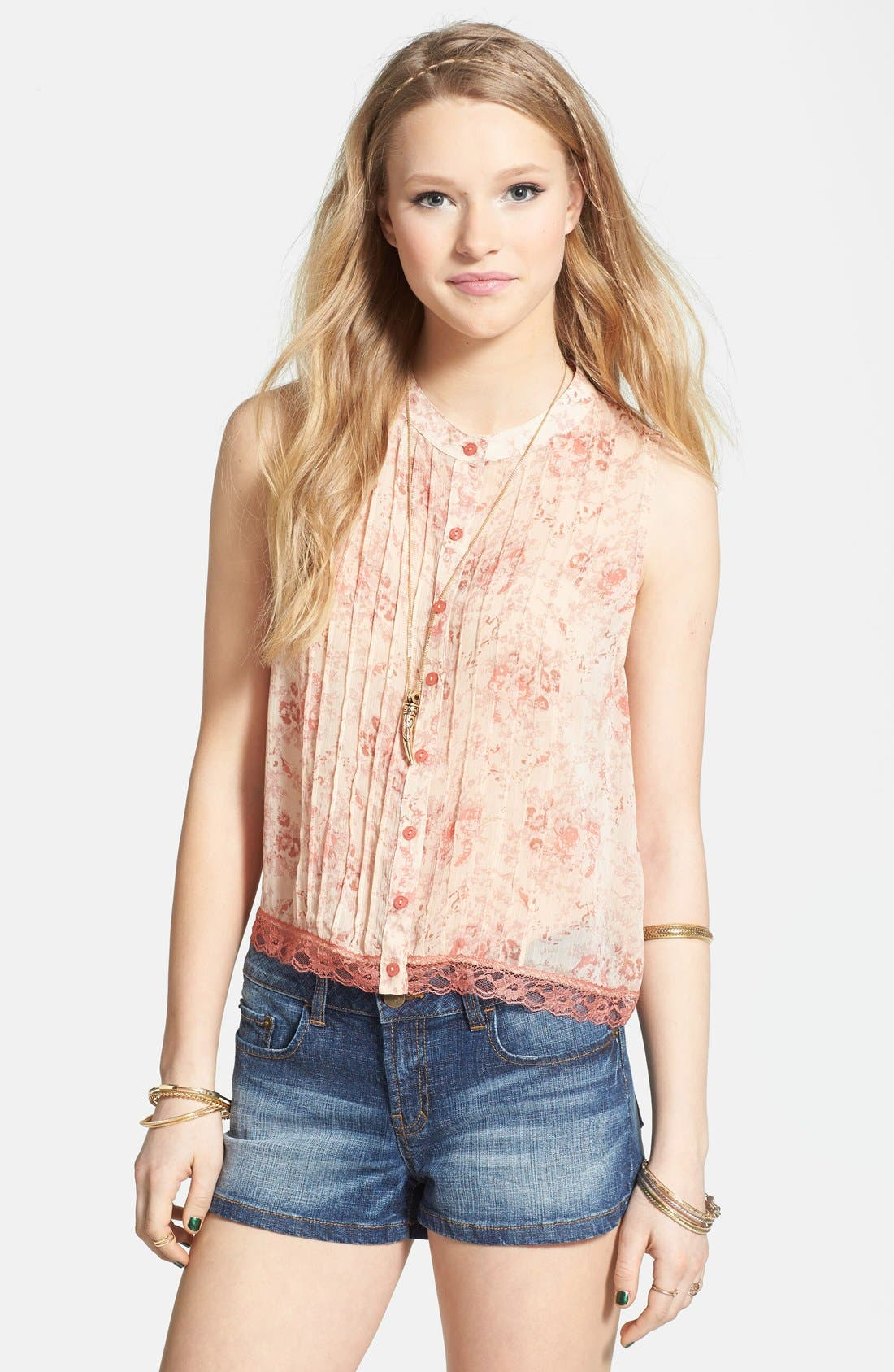 Alternate Image 1 Selected - Love Squared Pintuck Lace Trim Tank (Juniors)