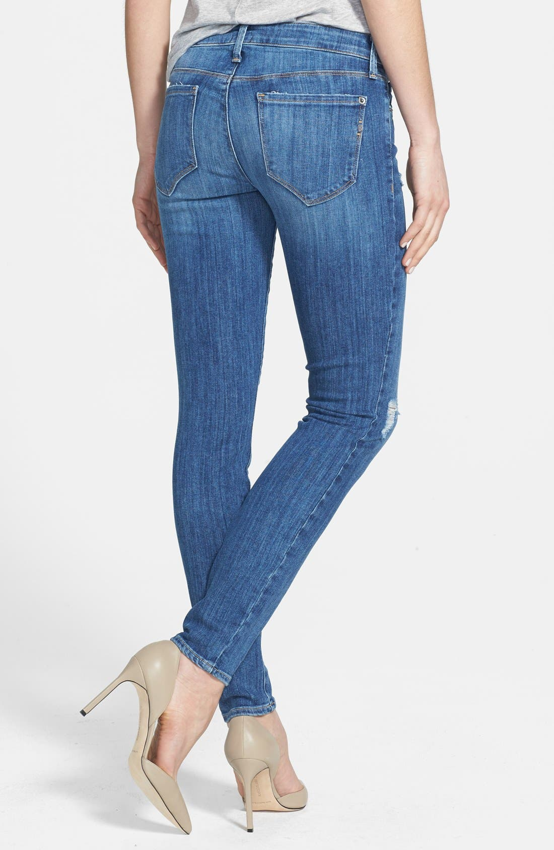 Alternate Image 2  - Genetic 'Stem' Mid Rise Skinny Jeans (Slash)