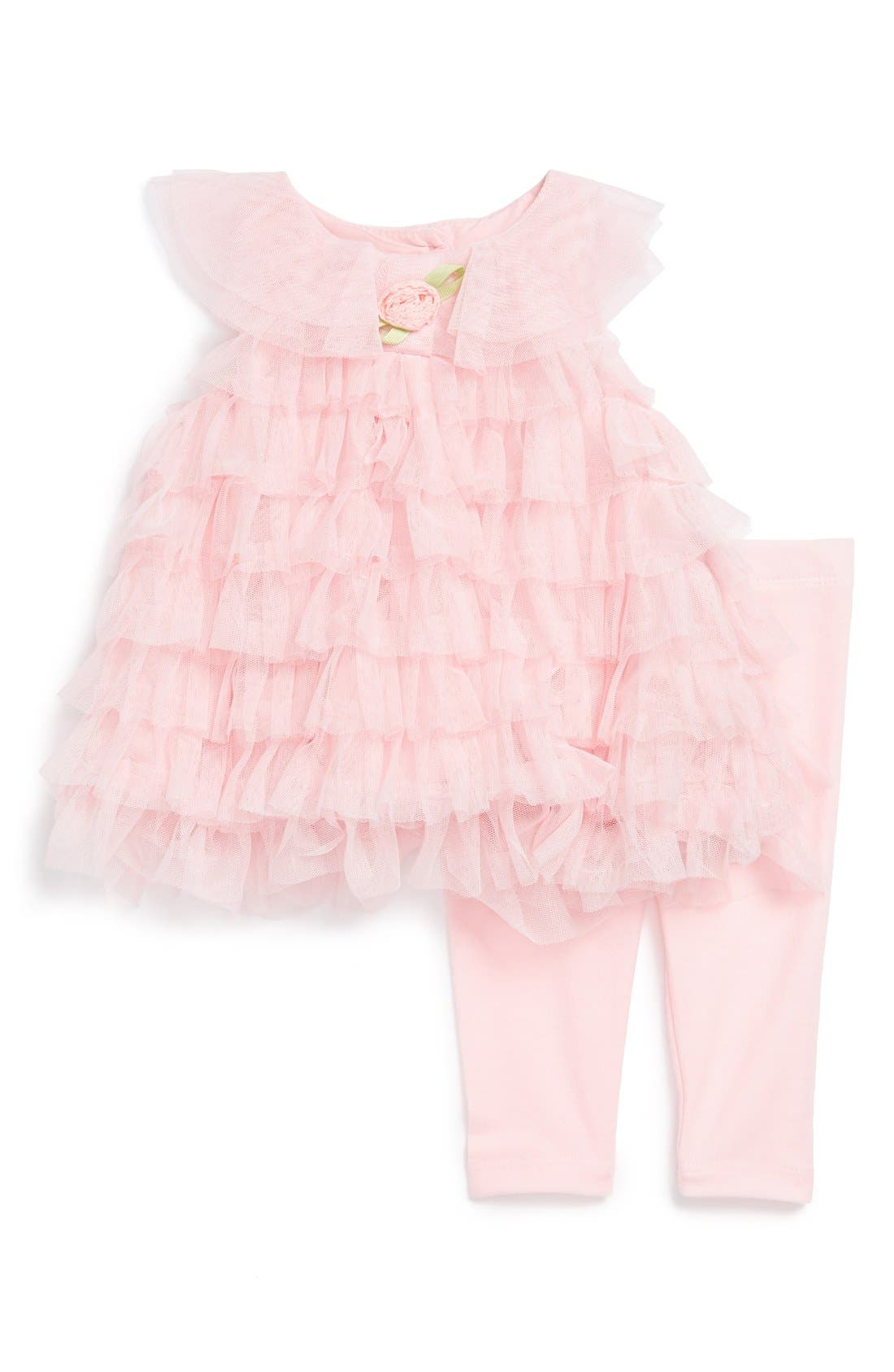 Alternate Image 1 Selected - Pippa & Julie Ruffle Dress & Leggings (Baby Girls)