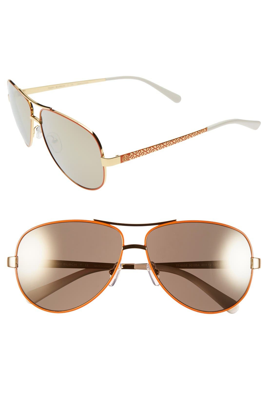 Main Image - Tory Burch 60mm Aviator Sunglasses