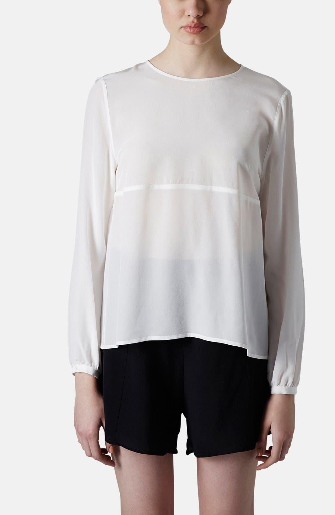 Alternate Image 1 Selected - Topshop Boutique Tulle Back Silk Blouse