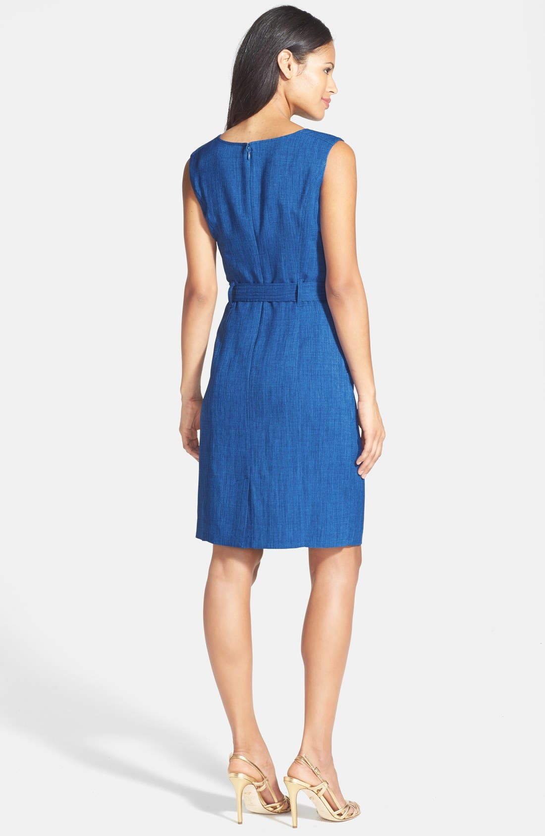 Alternate Image 2  - Ellen Tracy Bamboo Detail Belted Sheath Dress (Petite)