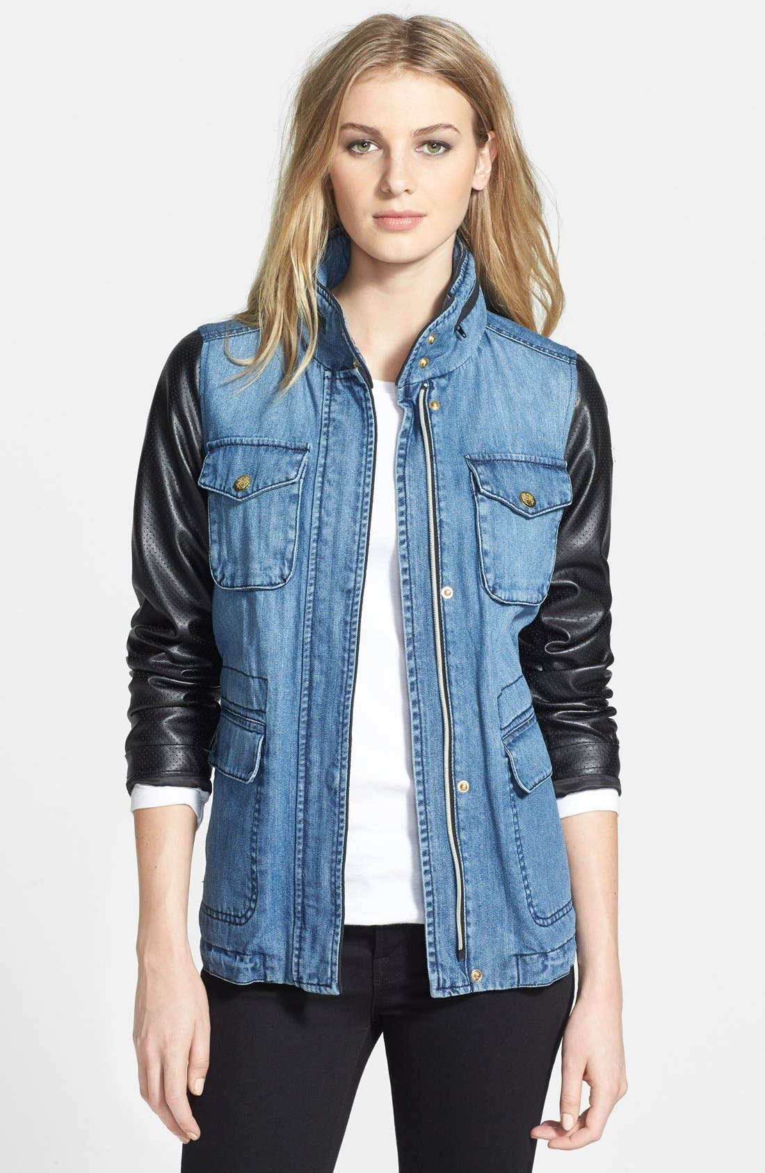 Alternate Image 1 Selected - Vince Camuto Faux Leather & Denim Hooded Anorak