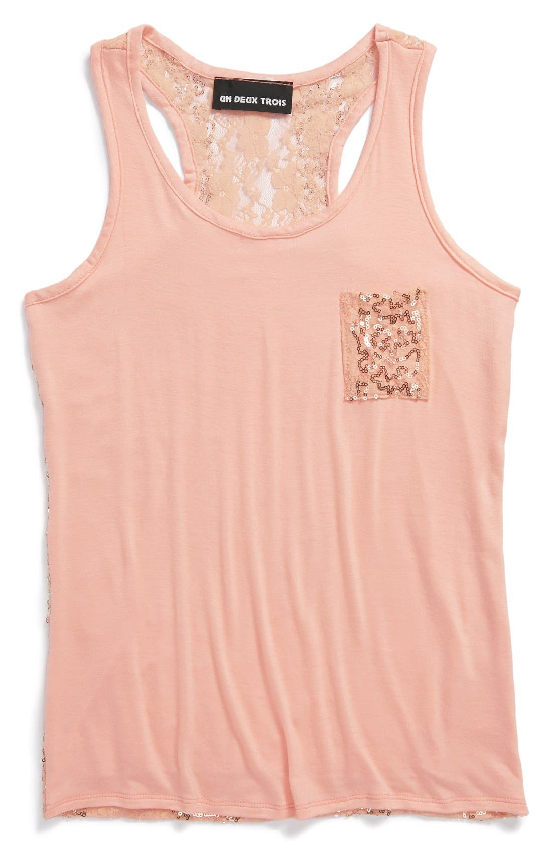 Main Image - Un Deux Trois Sequin Sleeveless Top (Big Girls)(Online Only)