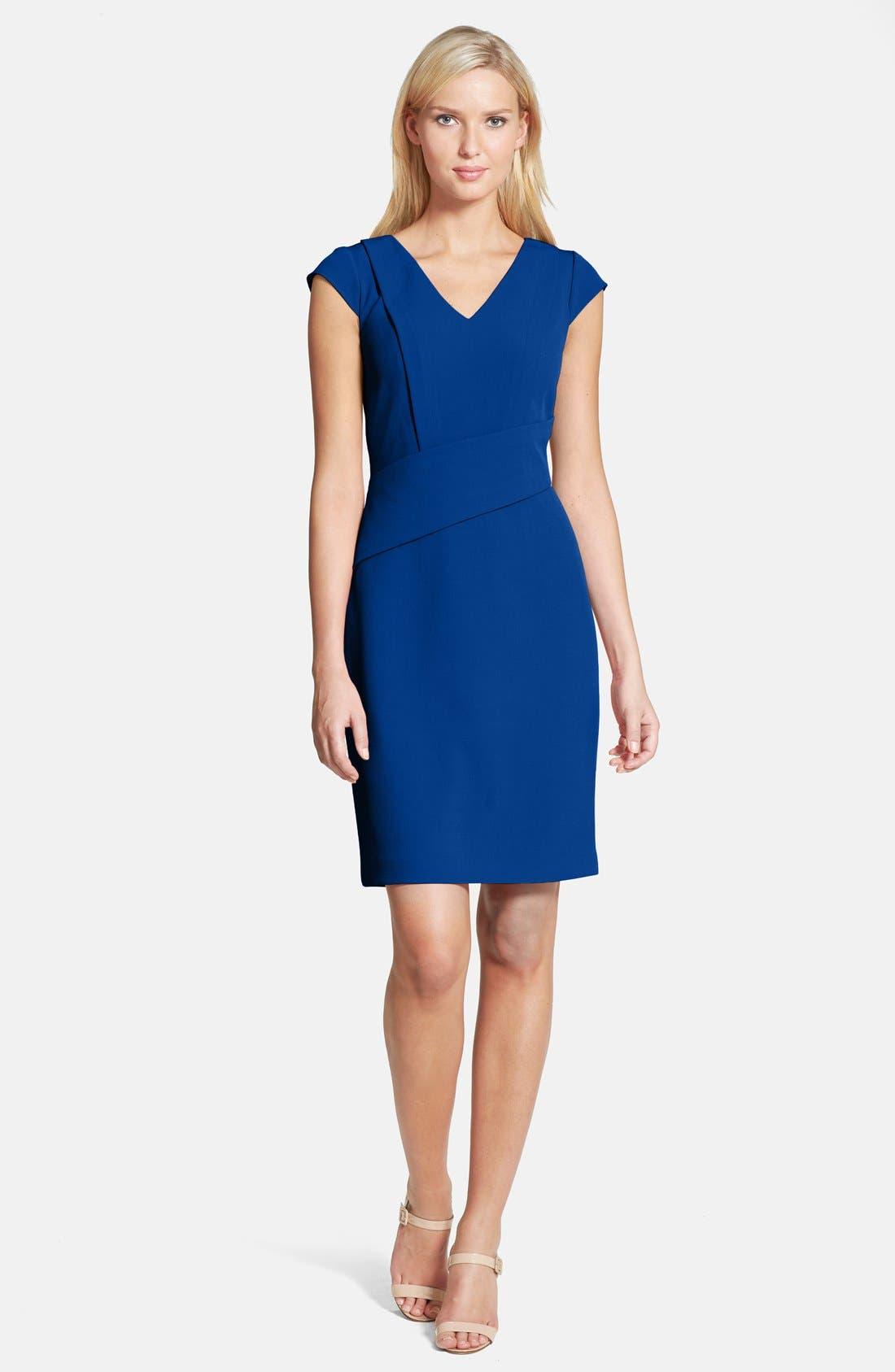 Alternate Image 3  - Adrianna Papell Asymmetric Waist Stretch Crepe Sheath Dress