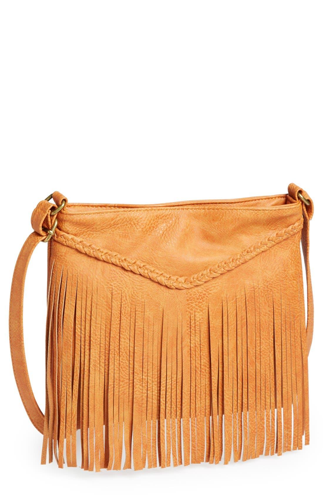 Alternate Image 1 Selected - Lulu Fringe Small Convertible Crossbody Bag (Juniors)
