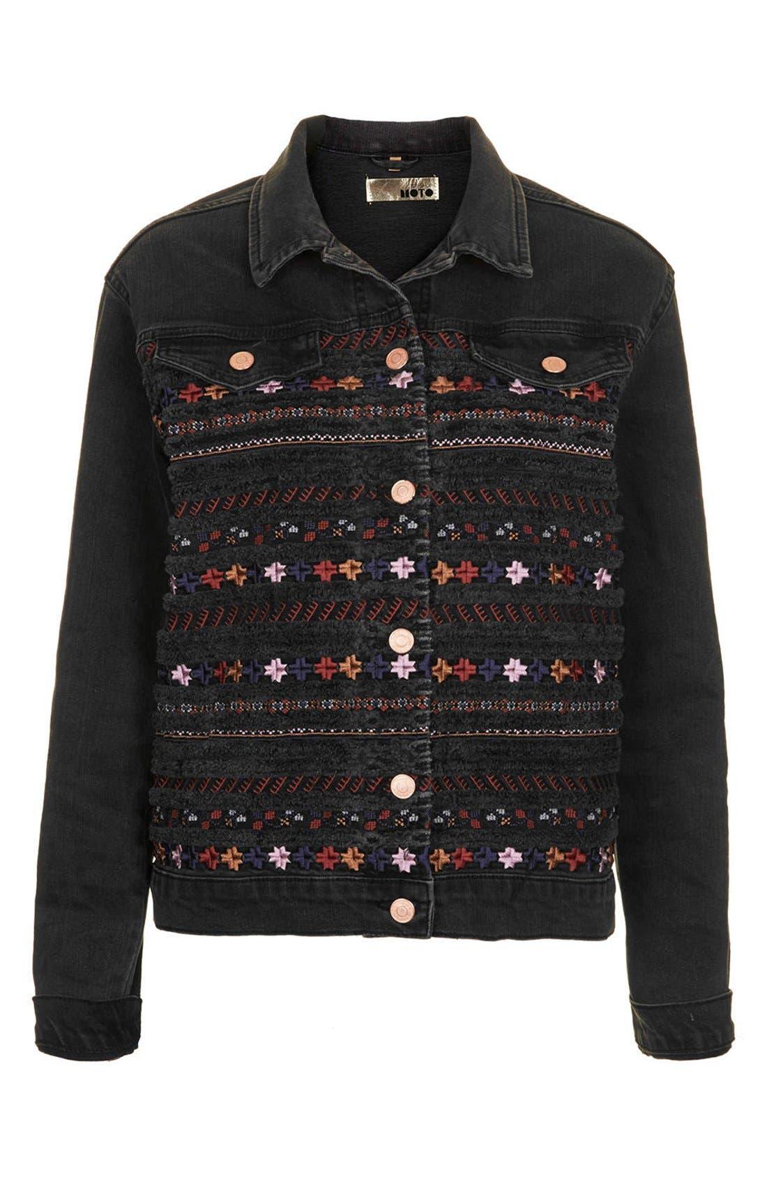 Alternate Image 3  - Topshop Moto Embroidered Denim Jacket