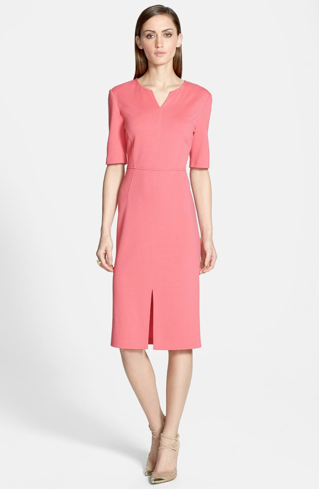 Main Image - St. John Collection Elbow Sleeve Milano Knit Fitted Dress