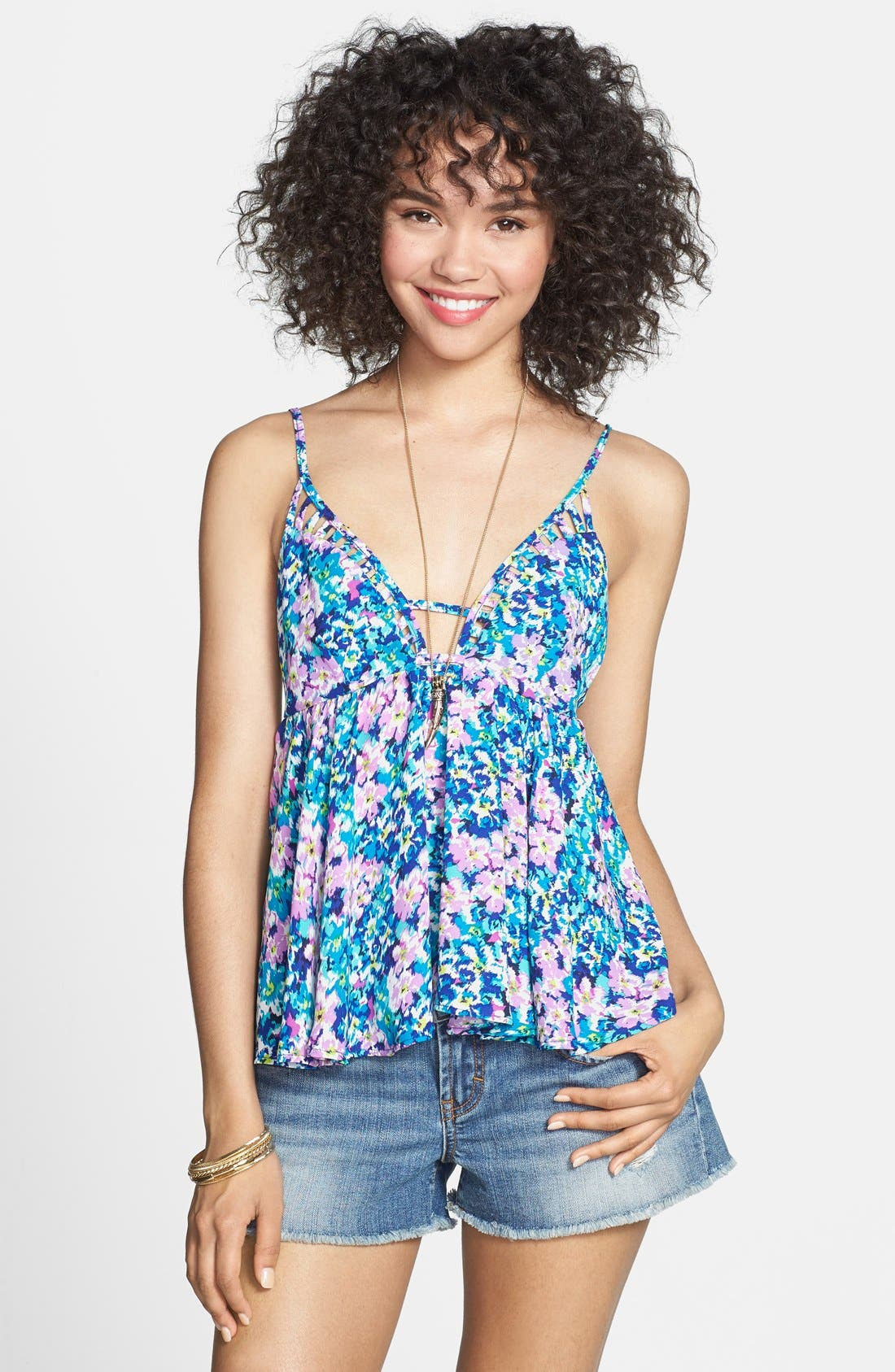 Alternate Image 1 Selected - Haute Society Floral Print Lattice Detail Tank (Juniors)