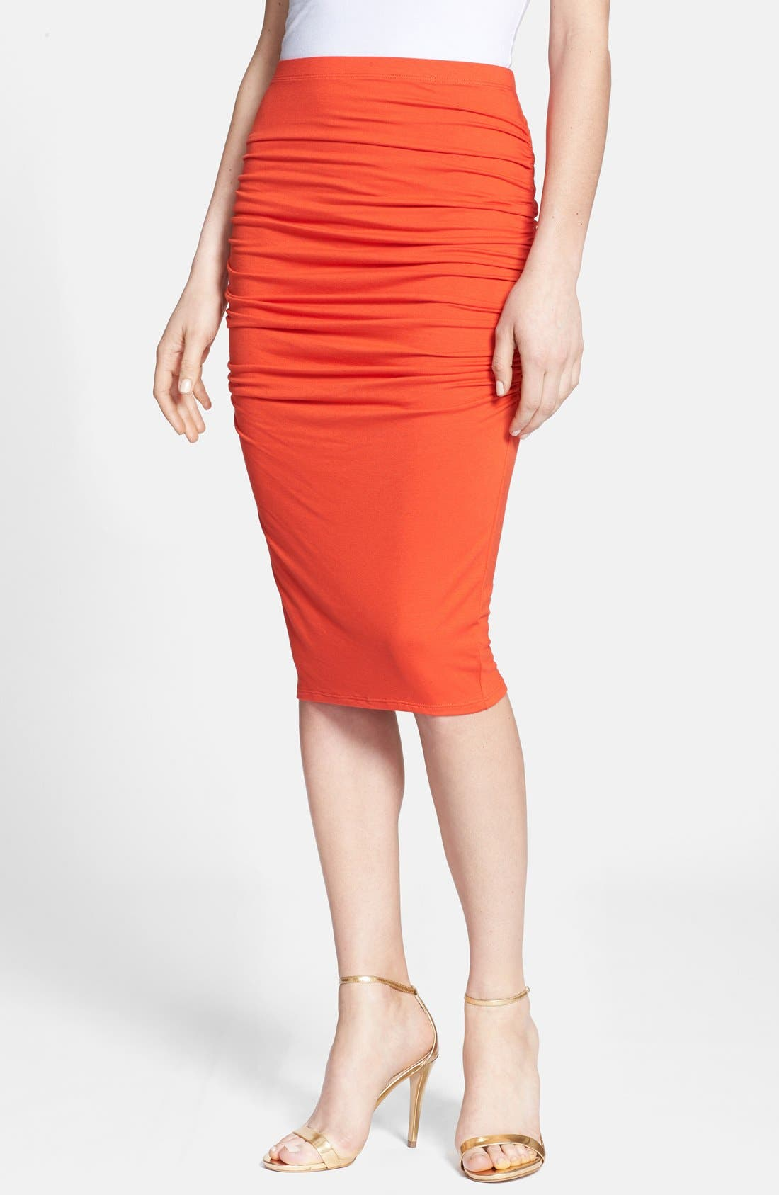 Alternate Image 1 Selected - Three Dots Ruched Print Midi Skirt