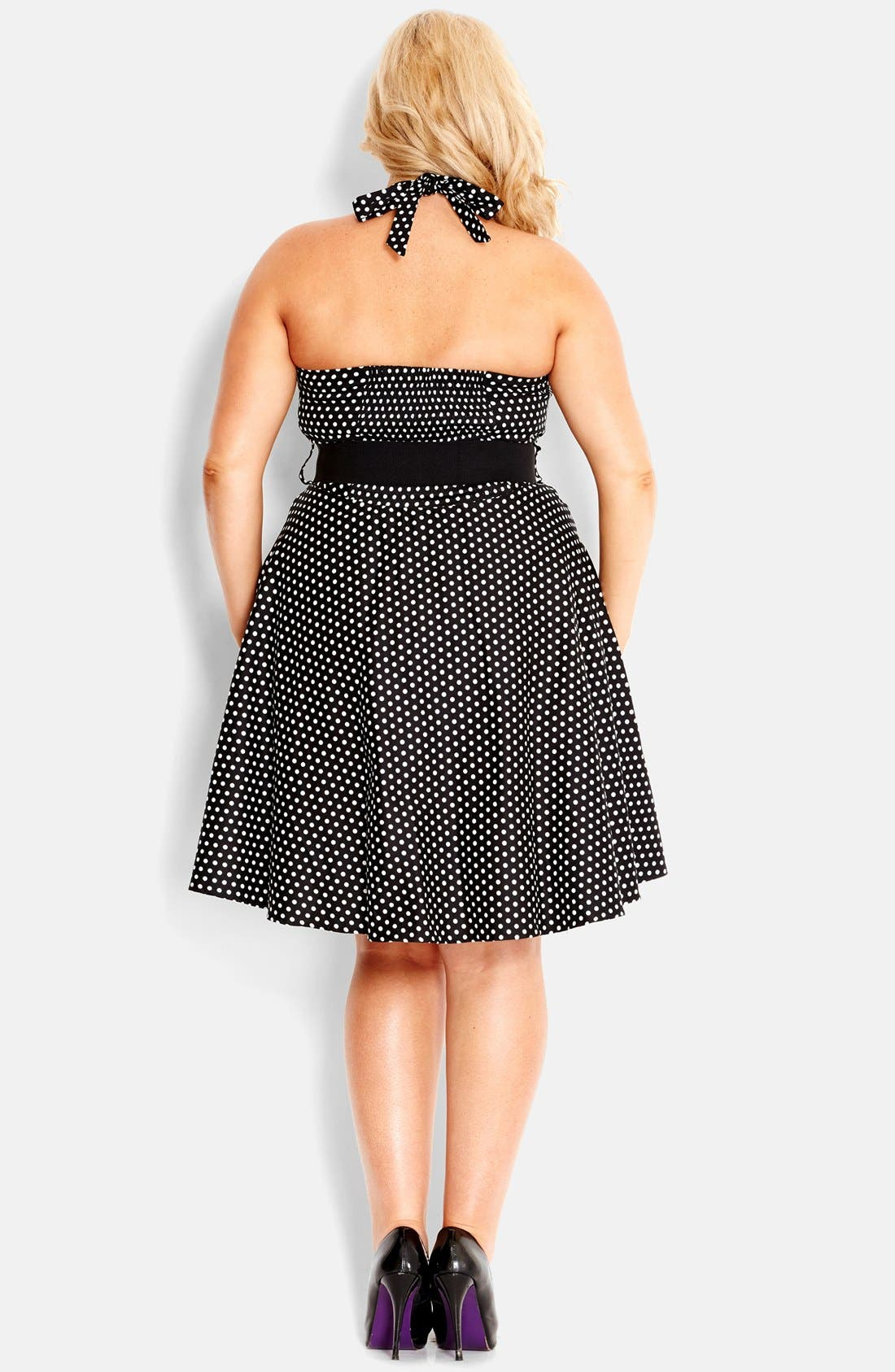 Alternate Image 2  - City Chic 'Spot Siren' Belted Fit & Flare Halter Dress (Plus Size)