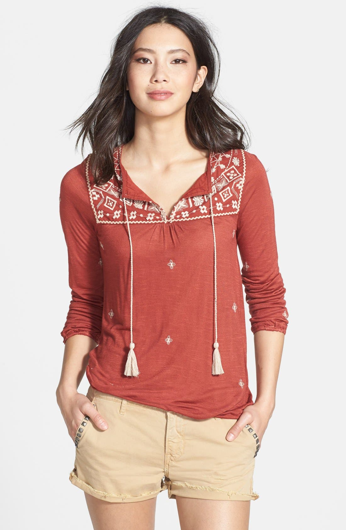 Alternate Image 1 Selected - Lucky Brand 'Winona' Embroidered Top
