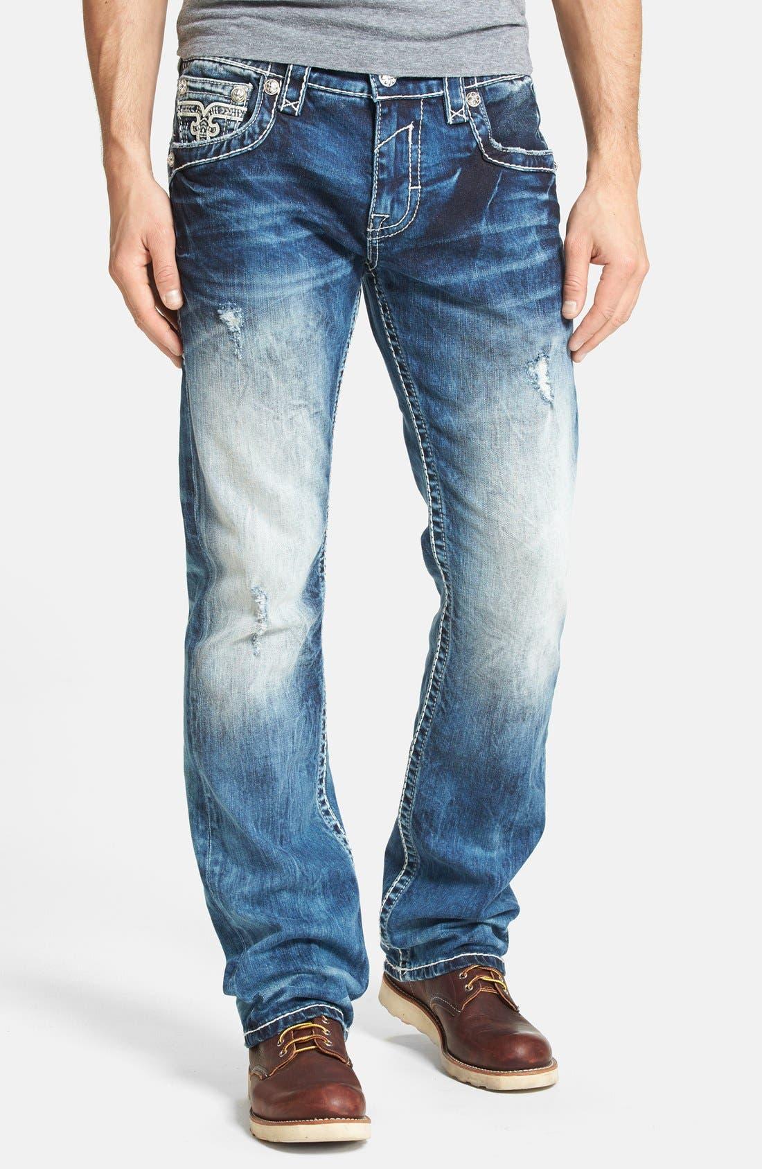 Alternate Image 2  - Rock Revival 'Earl' Straight Leg Jeans (Medium Blue)