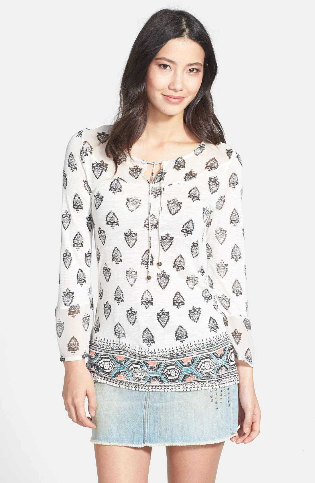Alternate Image 1 Selected - Lucky Brand Bell Sleeve Print Top