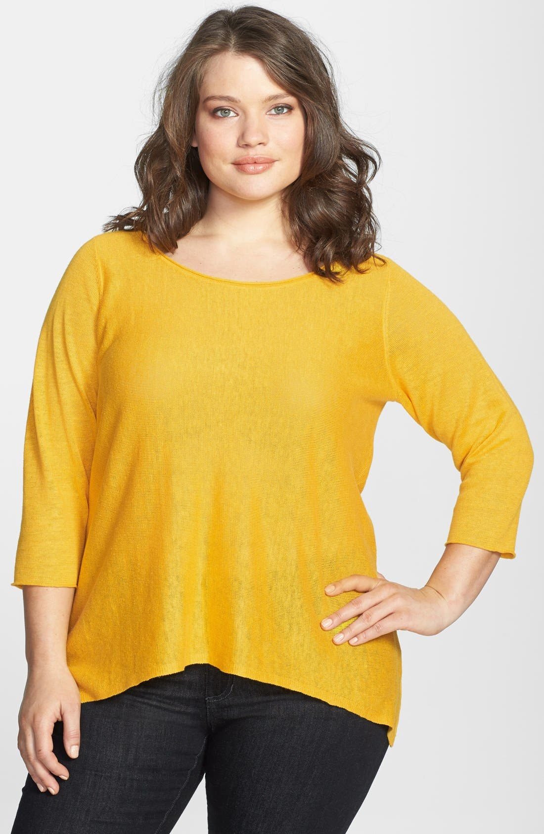 Alternate Image 1 Selected - Eileen Fisher Bateau Neck Organic Linen Top (Plus Size)