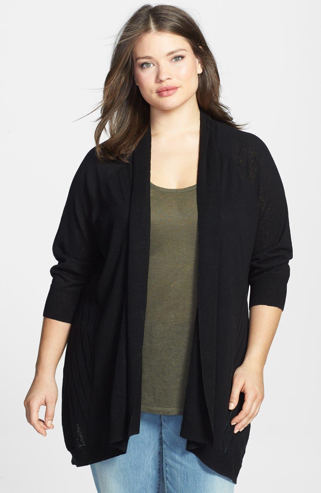 Main Image - Sejour Drape Front Linen Blend Cardigan (Plus Size)
