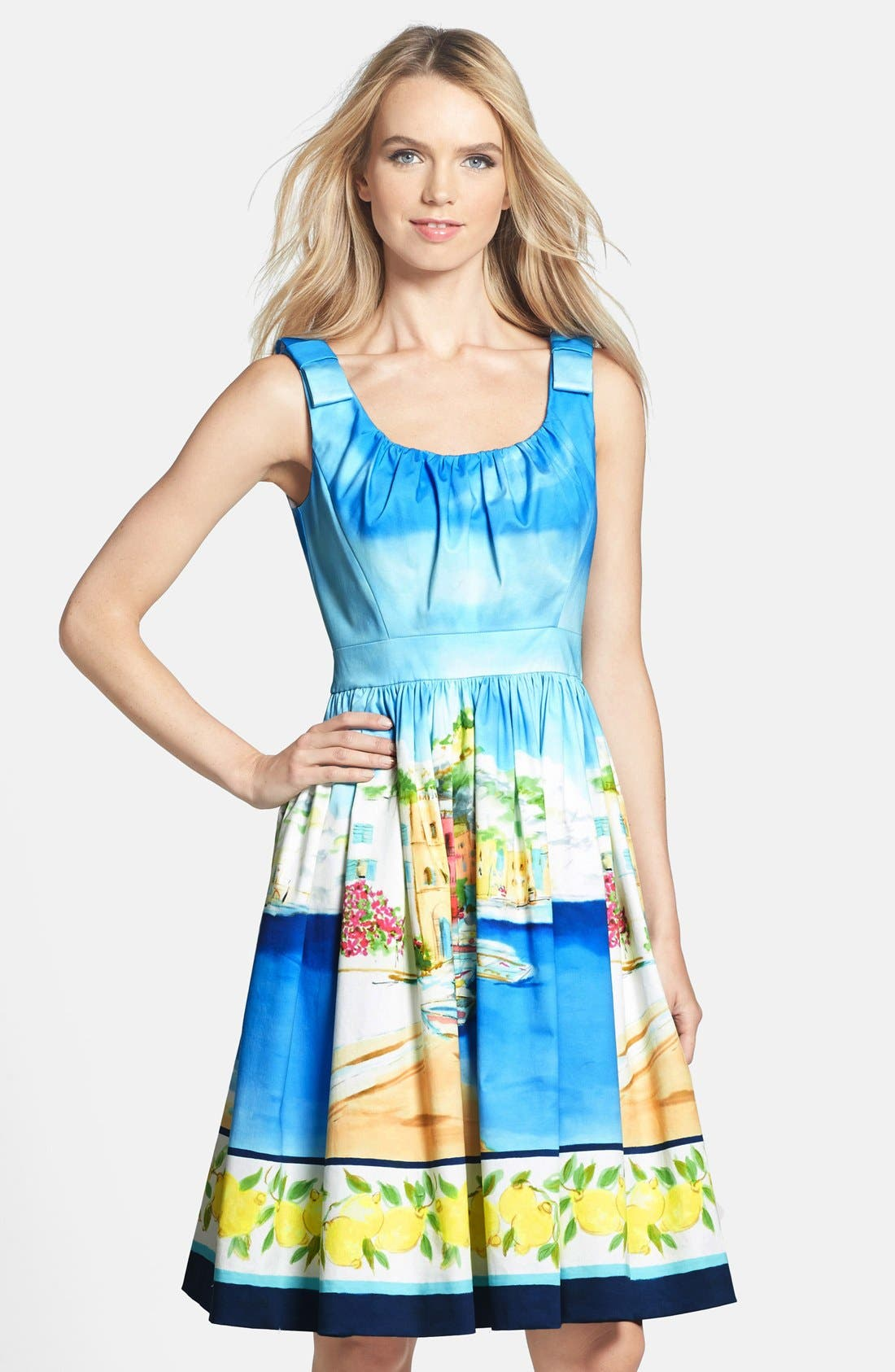 Alternate Image 1 Selected - kate spade new york 'elza' cotton blend fit & flare dress