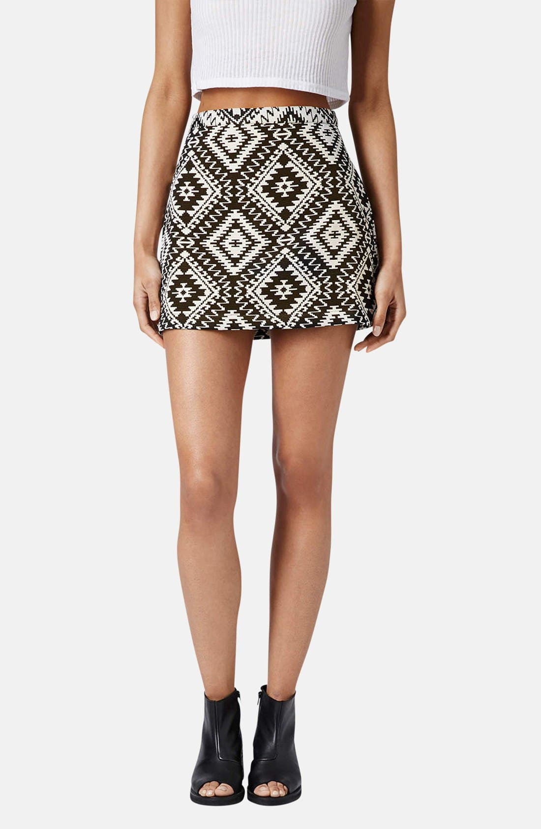 Alternate Image 1 Selected - Topshop Geo Jacquard Miniskirt